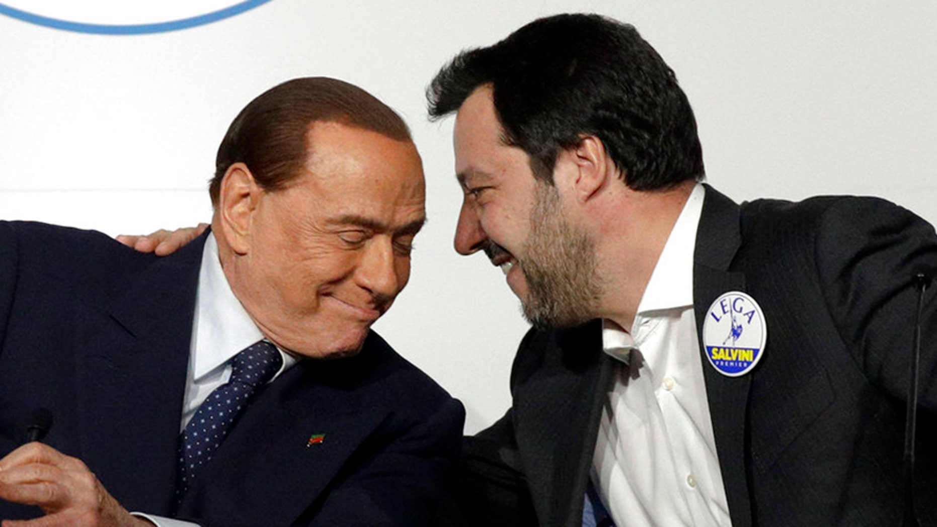 Silvio Berlusconi, left, and his Forza Italia party could enter into coalition with the League and Matteo Salvini, right.