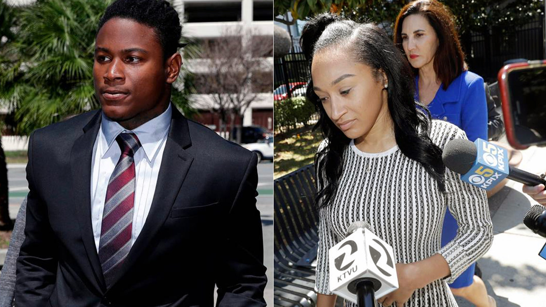 At left, Reuben Foster walks into court last month. At right, Elissa Ennis leaves court with attorney Stephanie Rickard Thursday.