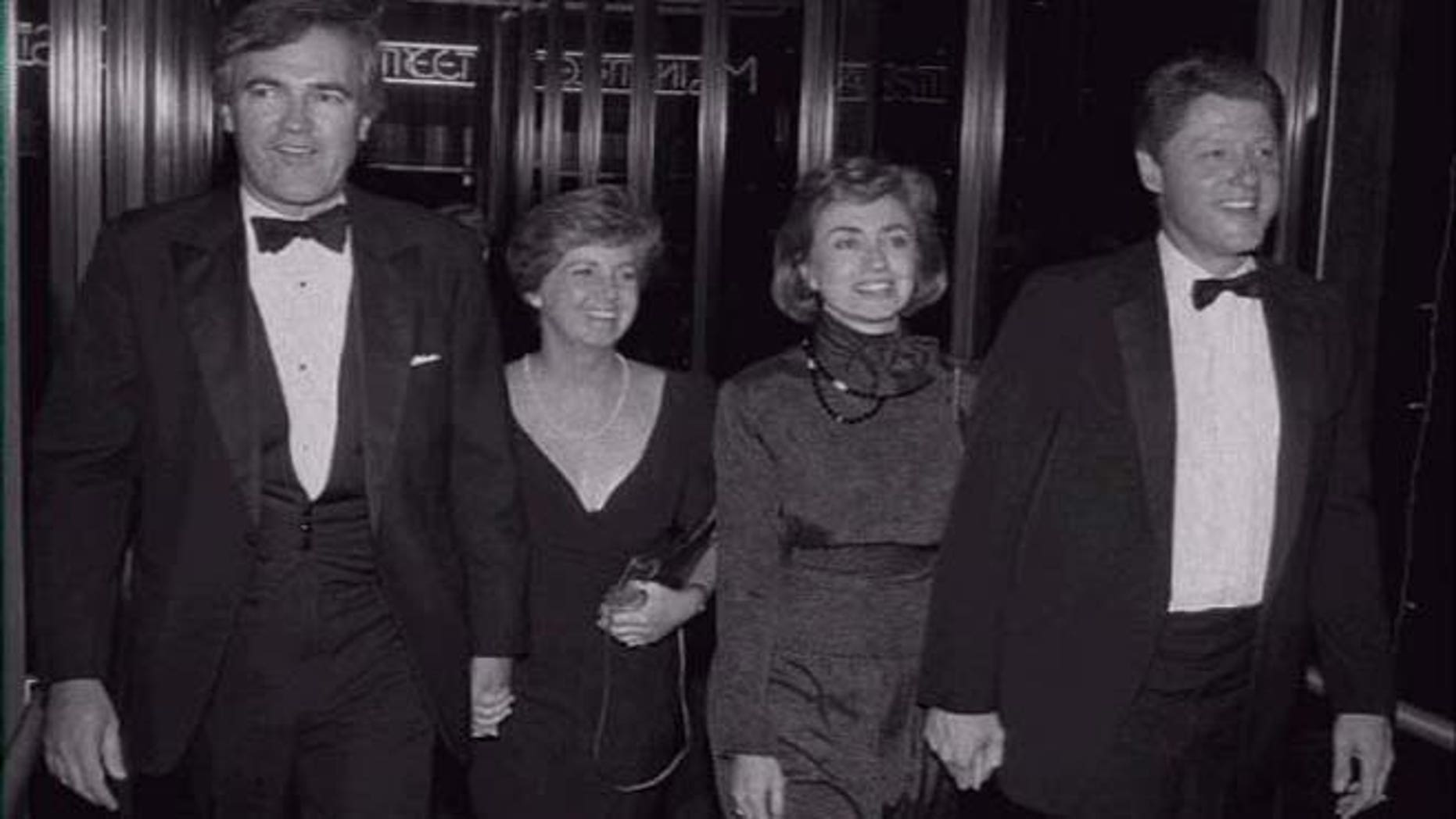 This 1988 file photo shows Vincent Foster, Lisa Foster, Hillary Clinton and then-Gov. Bill Clinton at a Little Rock theater opening.