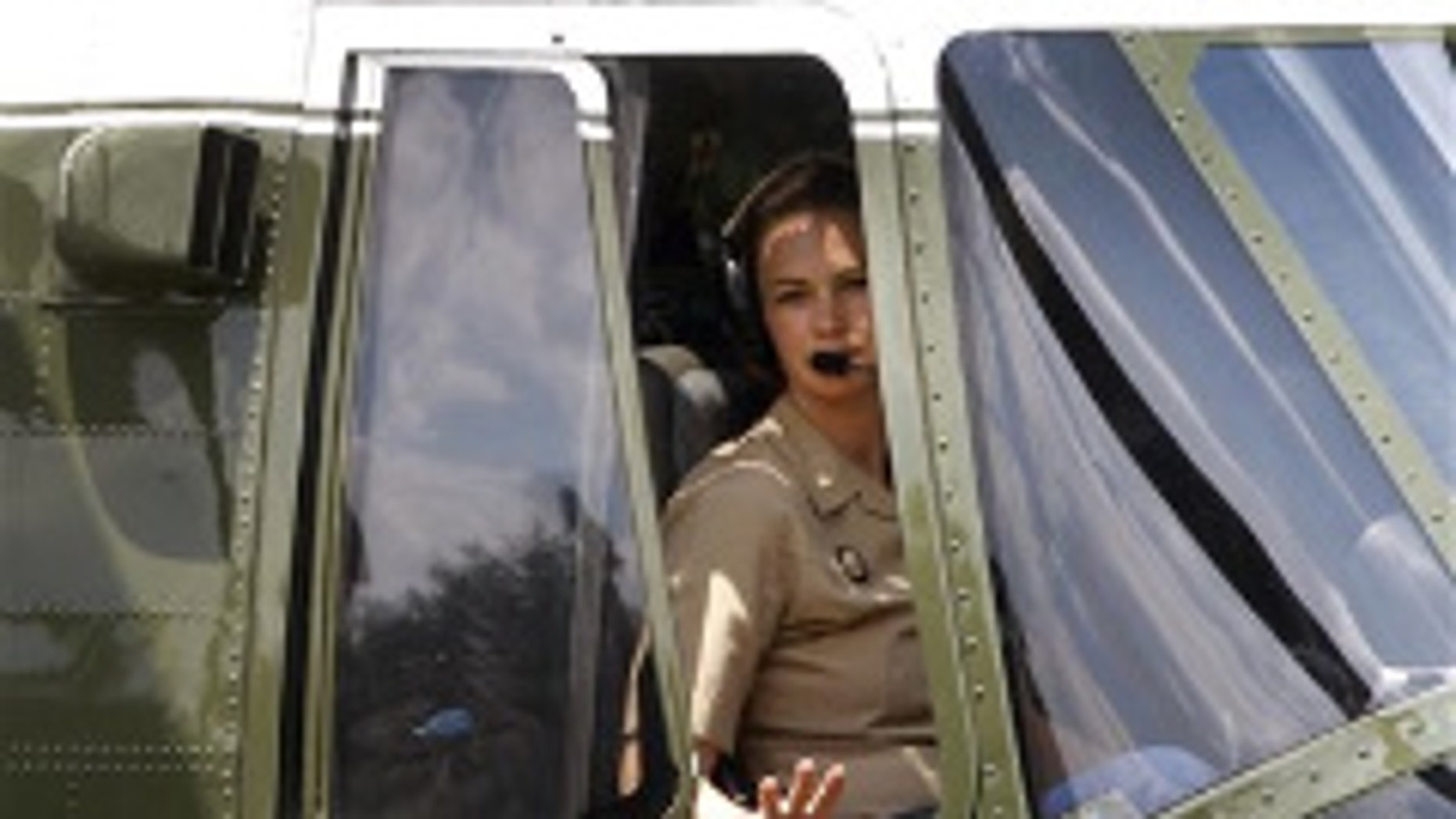 Maj. Jennifer Grieves on her last day in rotationas pilot of Marine One (AP Photo)