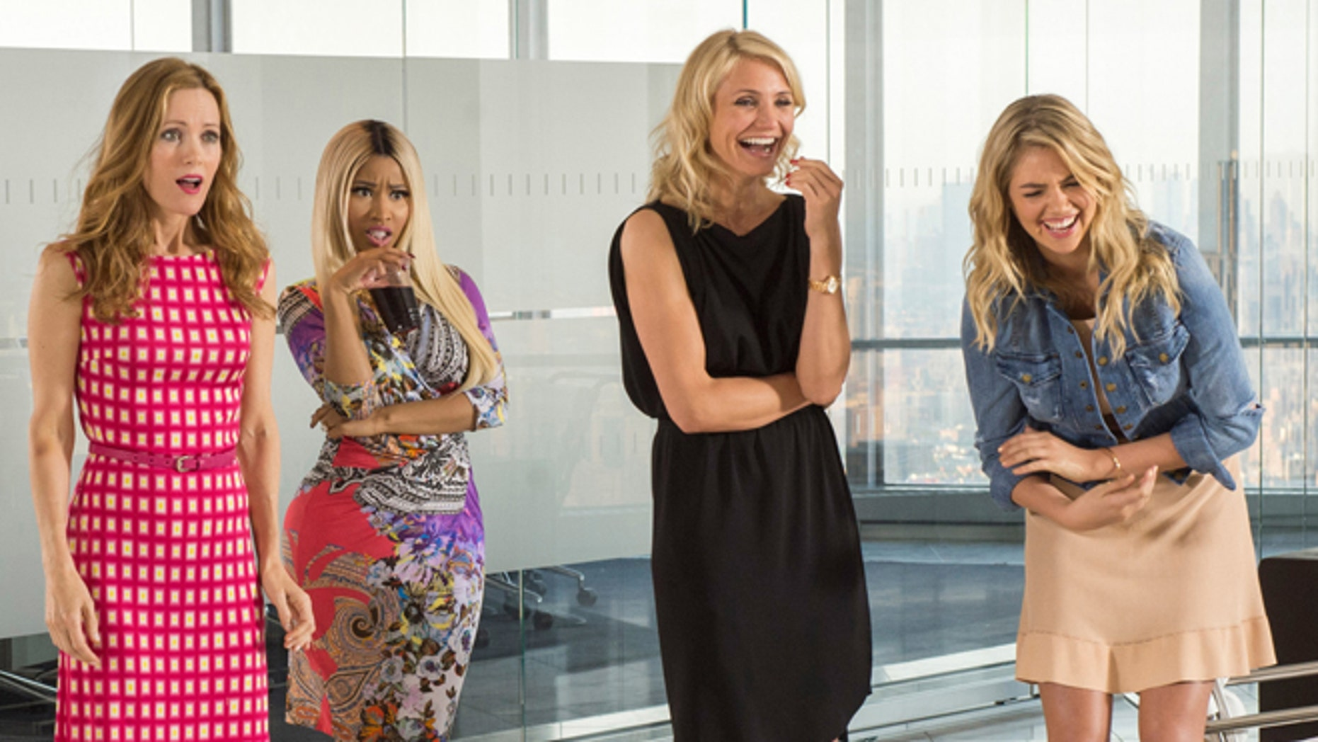 """Leslie Mann, from left, Nicki Minaj, Cameron Diaz and Kate Upton in a scene from """"The Other Woman."""""""
