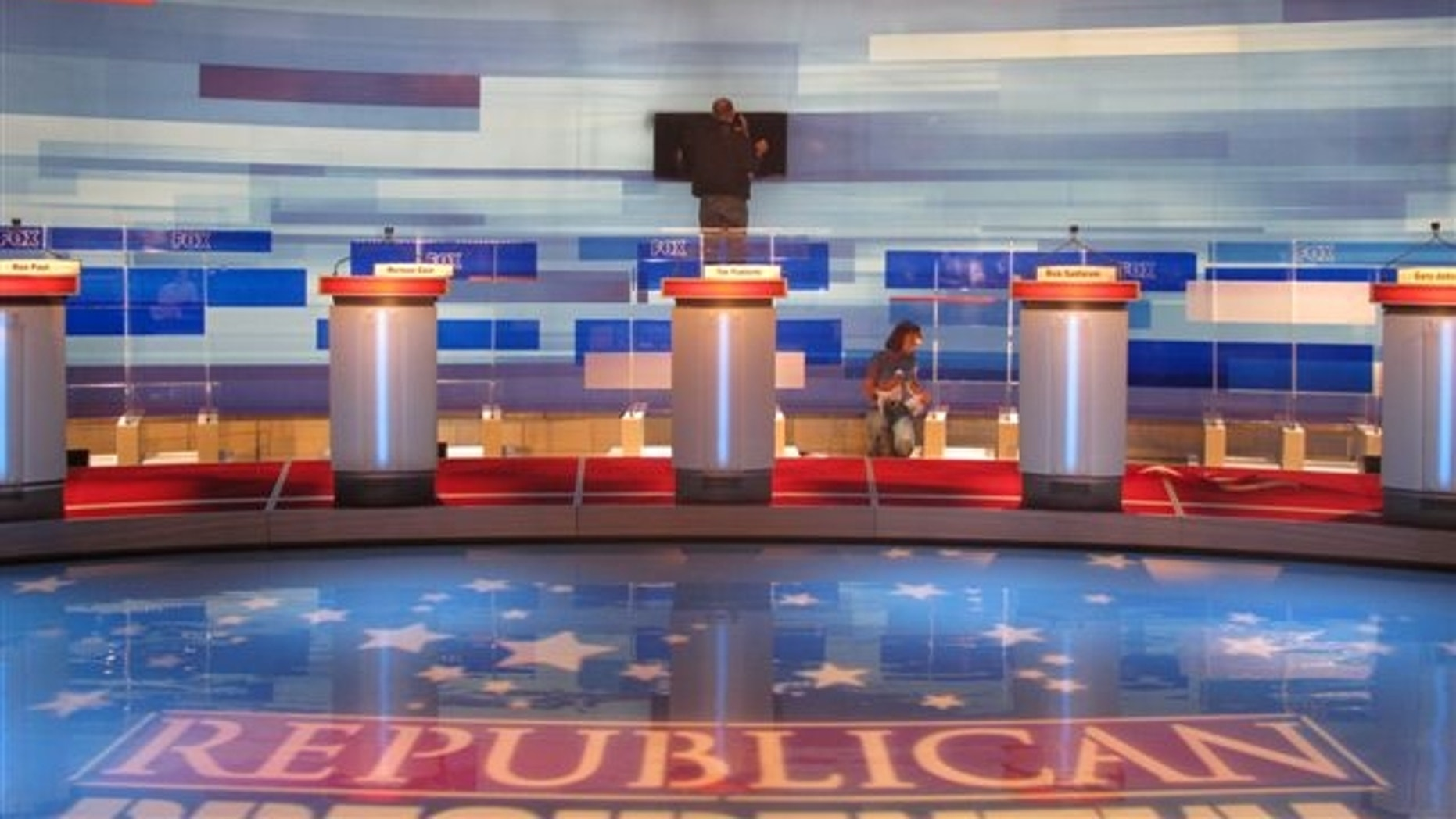 The stage is constructed ahead of the first 2012 presidential debate hosted by FOX News in Greenville, S.C. (Katy Ricalde/Fox News Photo)