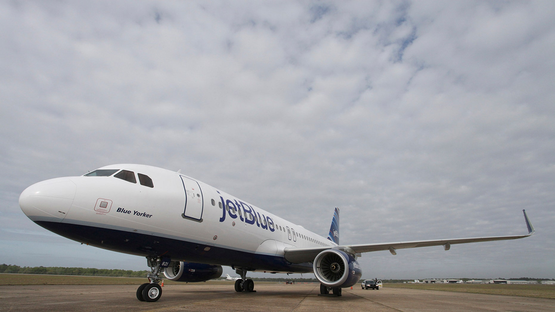 A JetBlue Airbus A320 is pictured on the tarmac in Mobile, Ala., April 8, 2013.