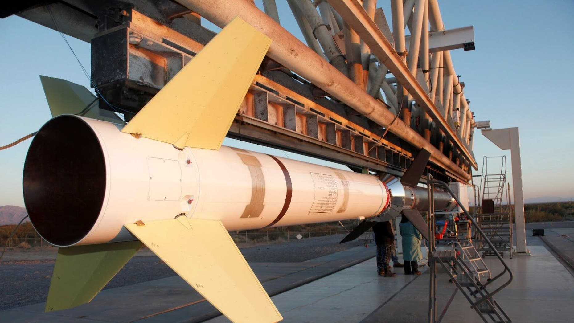 The sounding rocket carrying the first flight of FOXSI, an instrument gathering X-ray data about the sun, before its launch in 2012.