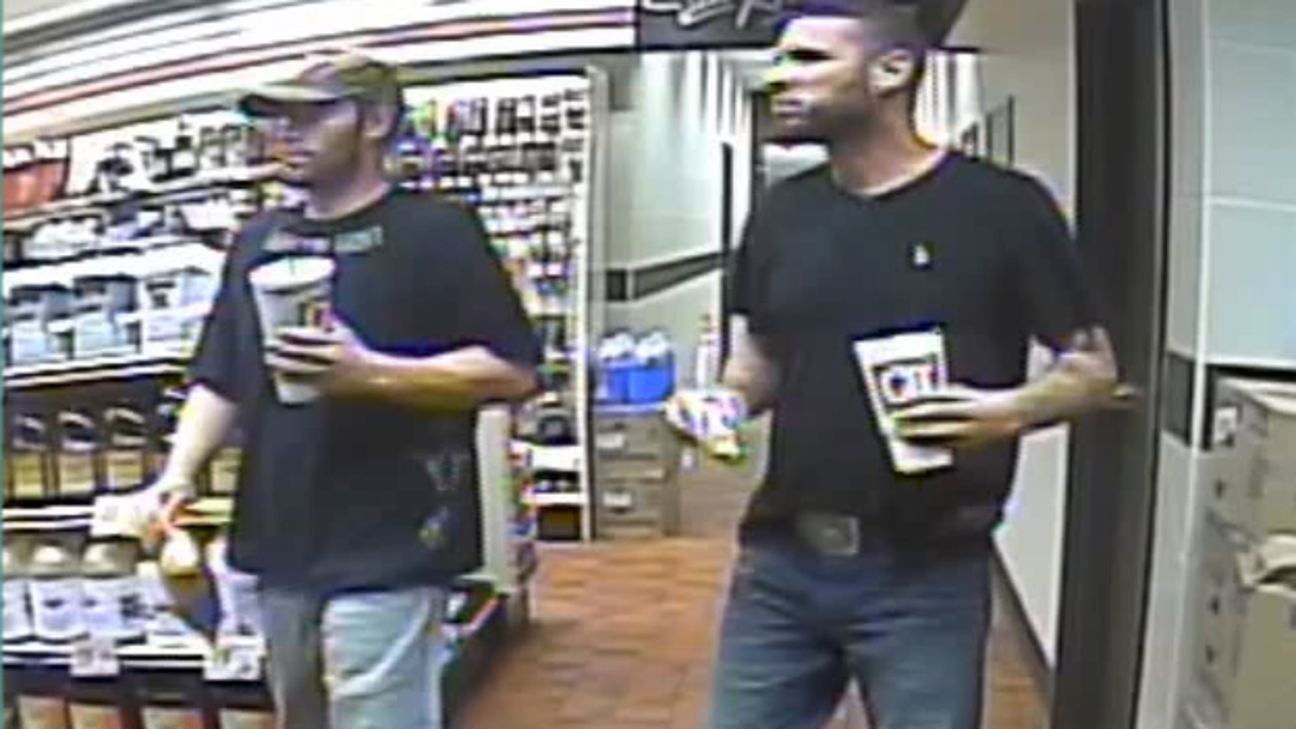 Two escaped inmates were caught on camera buying drinks and snacks in a QuikTrip in Oklahoma. They are believed to be driving east in a stolen 2007 black Peterbilt semi-truck trailer.