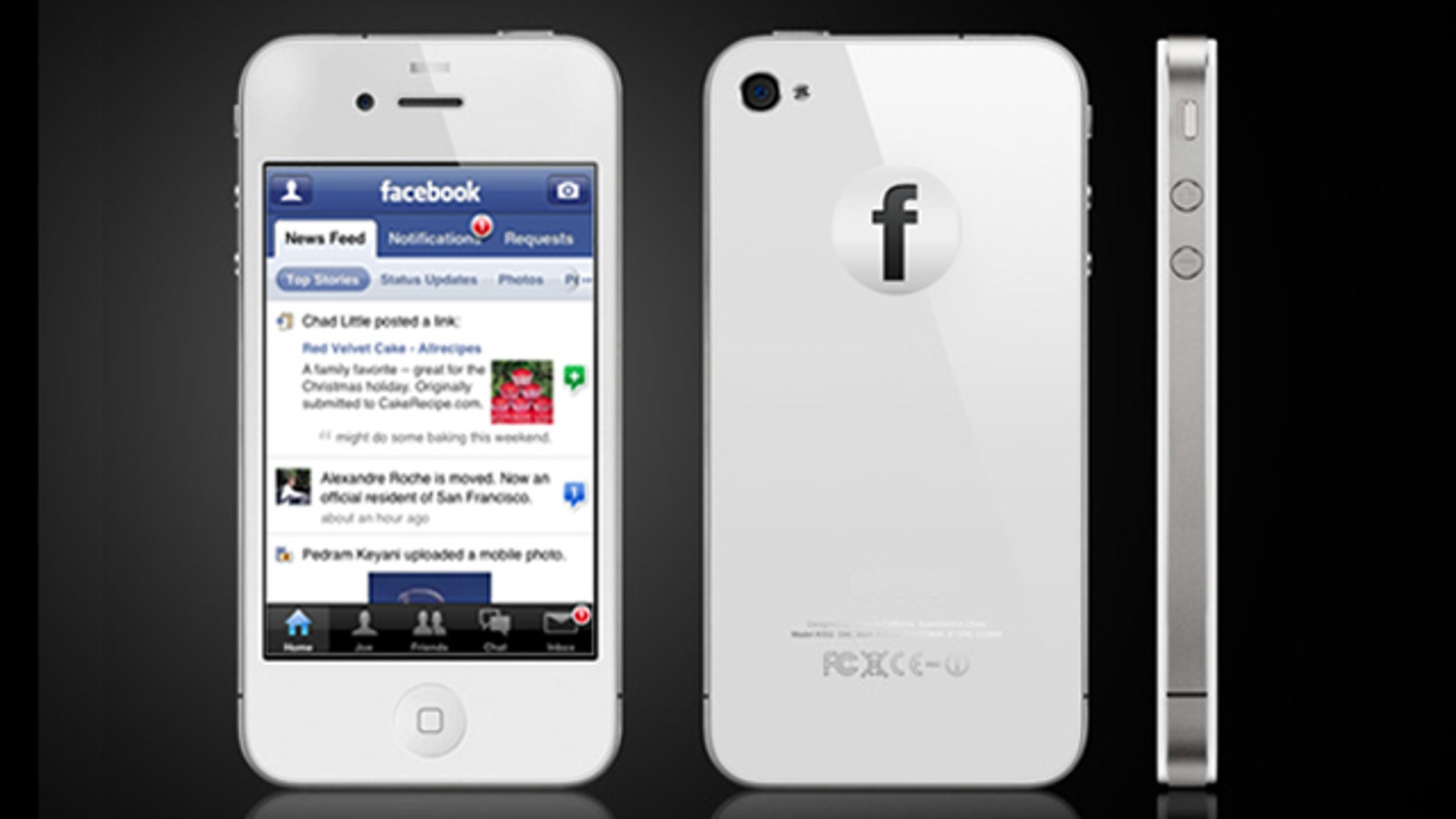 A mockup of the potential Facebook Phone.