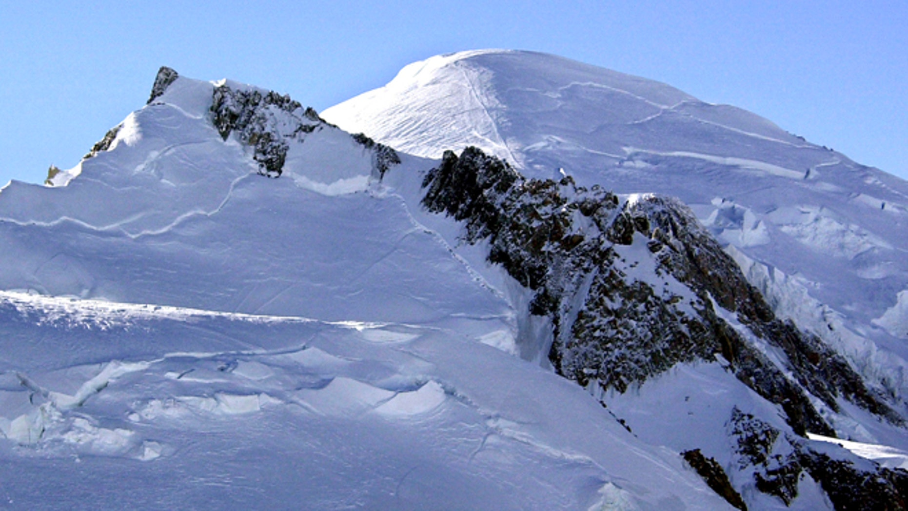 This file photo shows Mont Blanc, western Europe's highest mountain.