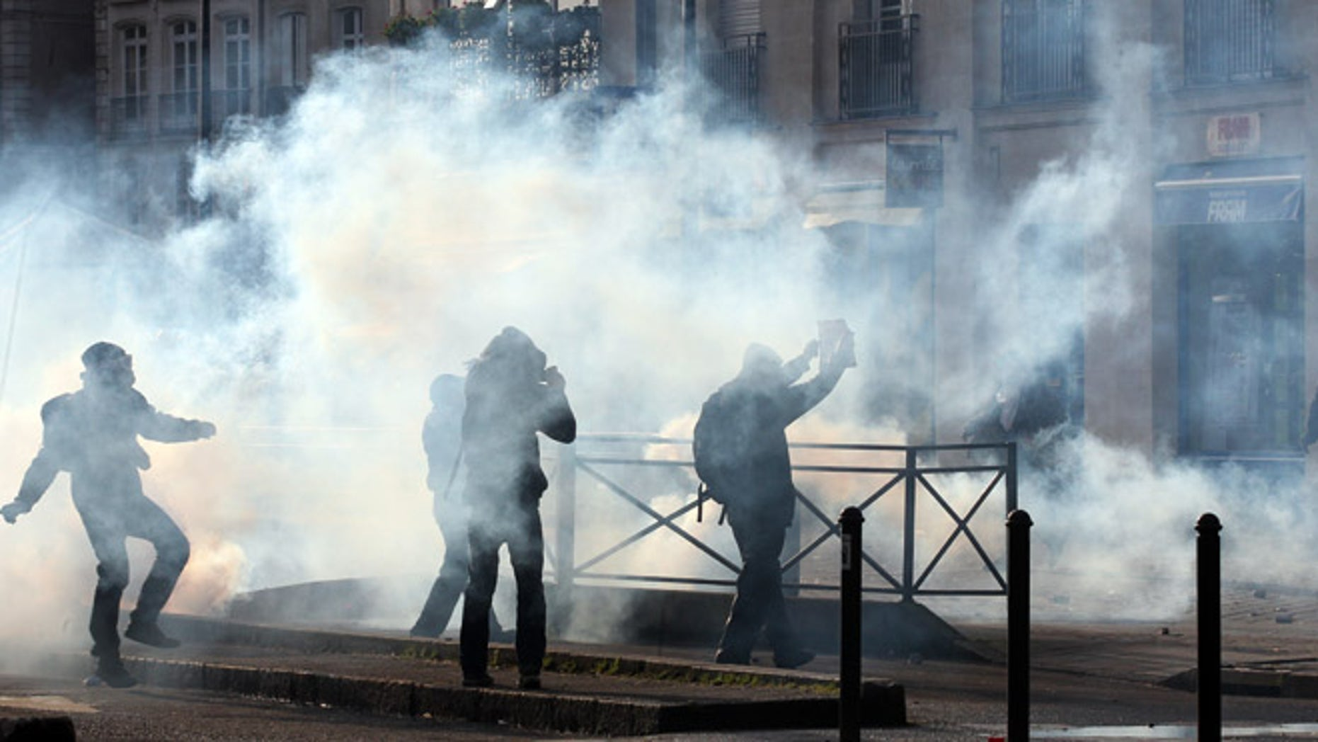 Feb. 22, 2014: Demonstrators clash with French riot police during a demonstration in Nantes as part of a protest against a project to build an international airport, in Notre Dame des Landes, near Nantes.