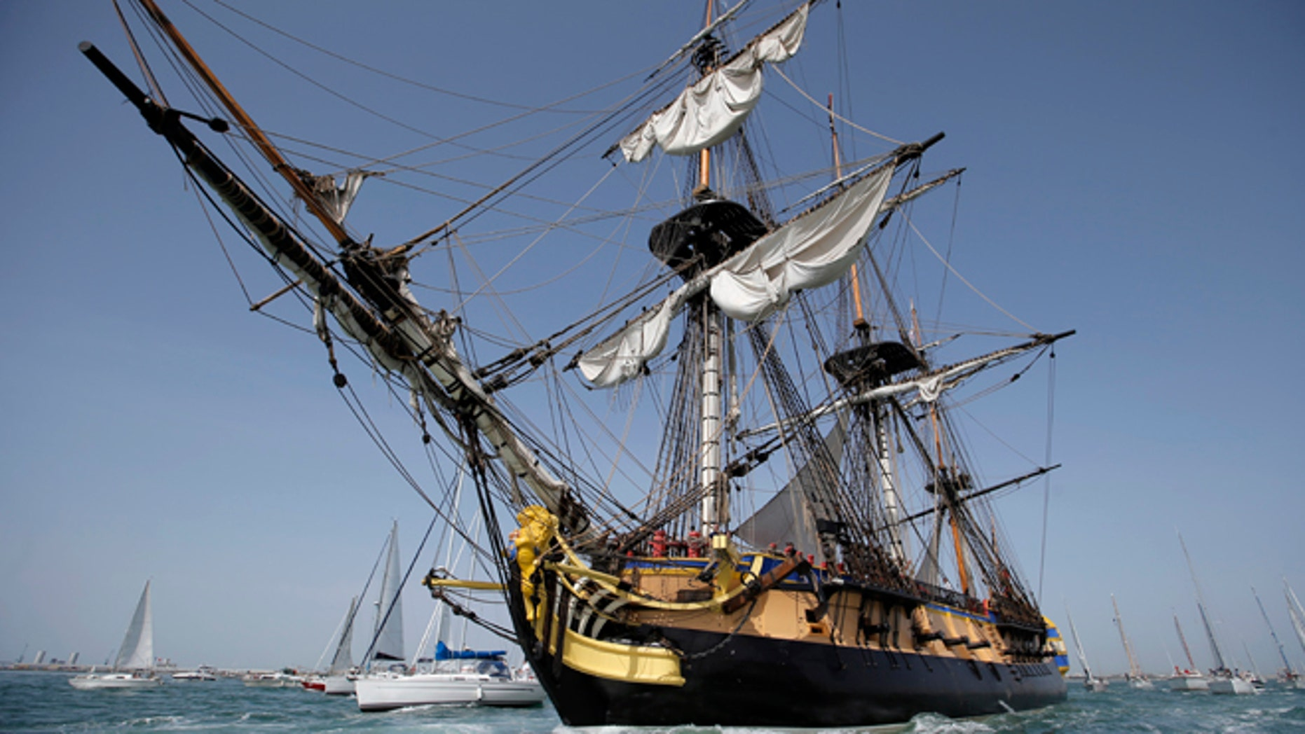 Apr. 15, 2015: The three masts of the 213 feet long frigate Hermione sails at La Rochelle, southwest France, as part of preparation of a trip to America. (AP)