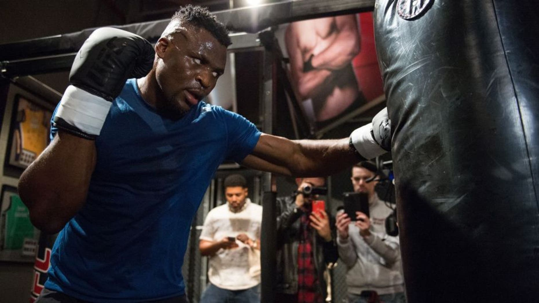 LAS VEGAS, NV - MARCH 02: Francis Ngannou of France holds a open workout for the media in the TUF Gym on March 2, 2017 in Las Vegas, Nevada. (Photo by Brandon Magnus/Zuffa LLC/Zuffa LLC via Getty Images)