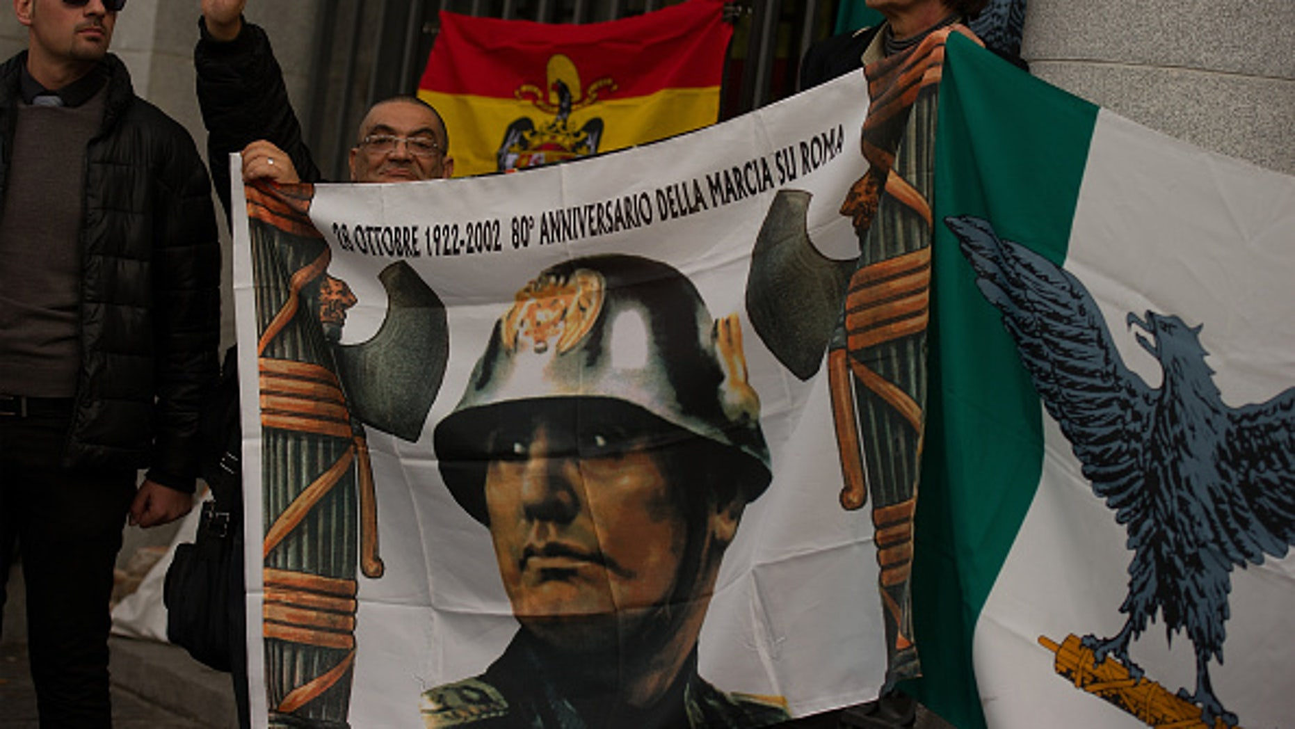 MADRID, SPAIN - NOVEMBER 23:  Italian fascists attend a rally to celebrate the 39th anniversary of the death of Spanish dictator General Francisco Franco at Plaza Oriente square in Madrid, Spain.
