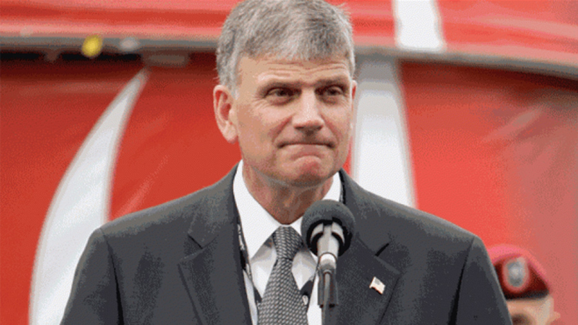 May 24, 2009: Franklin Graham prepares to give the invocation before the NASCAR Coca-Cola 600 auto race at Lowe's Motor Speedway in Concord, N.C. (AP)