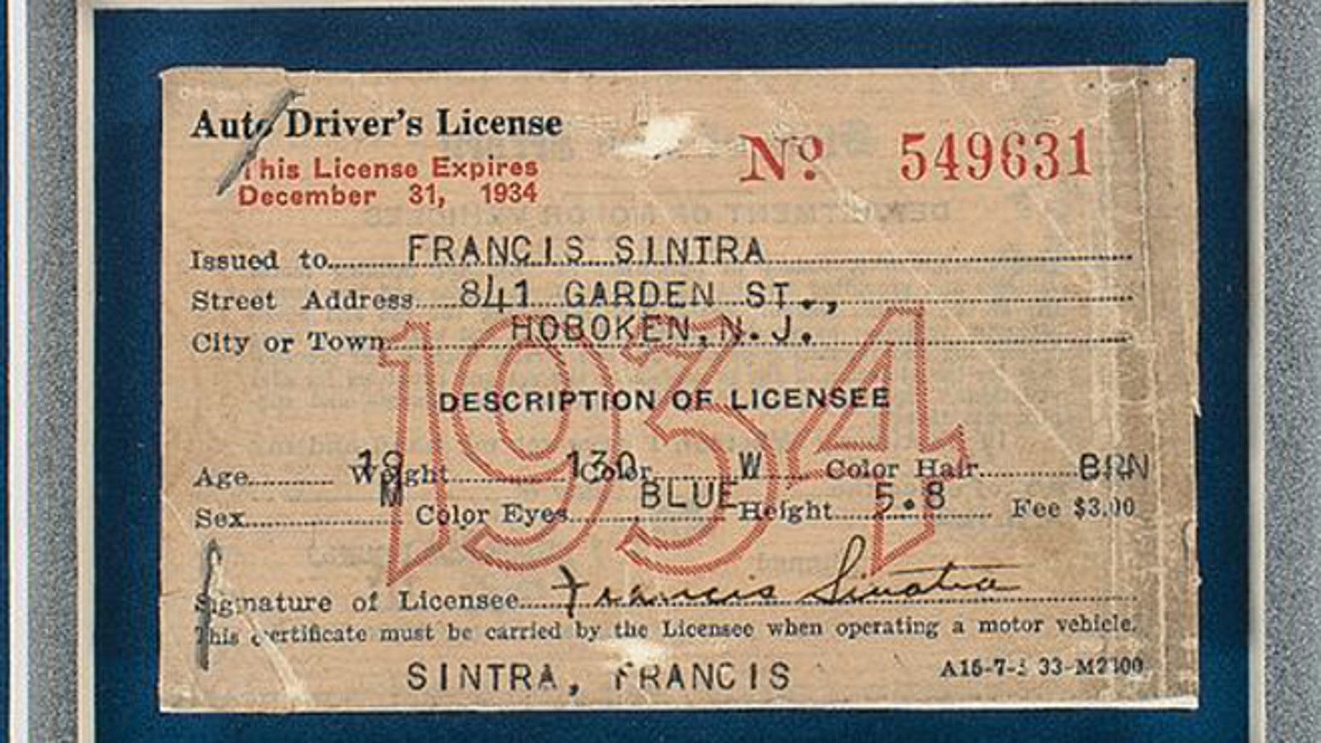 State-issued license sells for over $15,000 and confirms that Frank Sinatra had blue eyes.