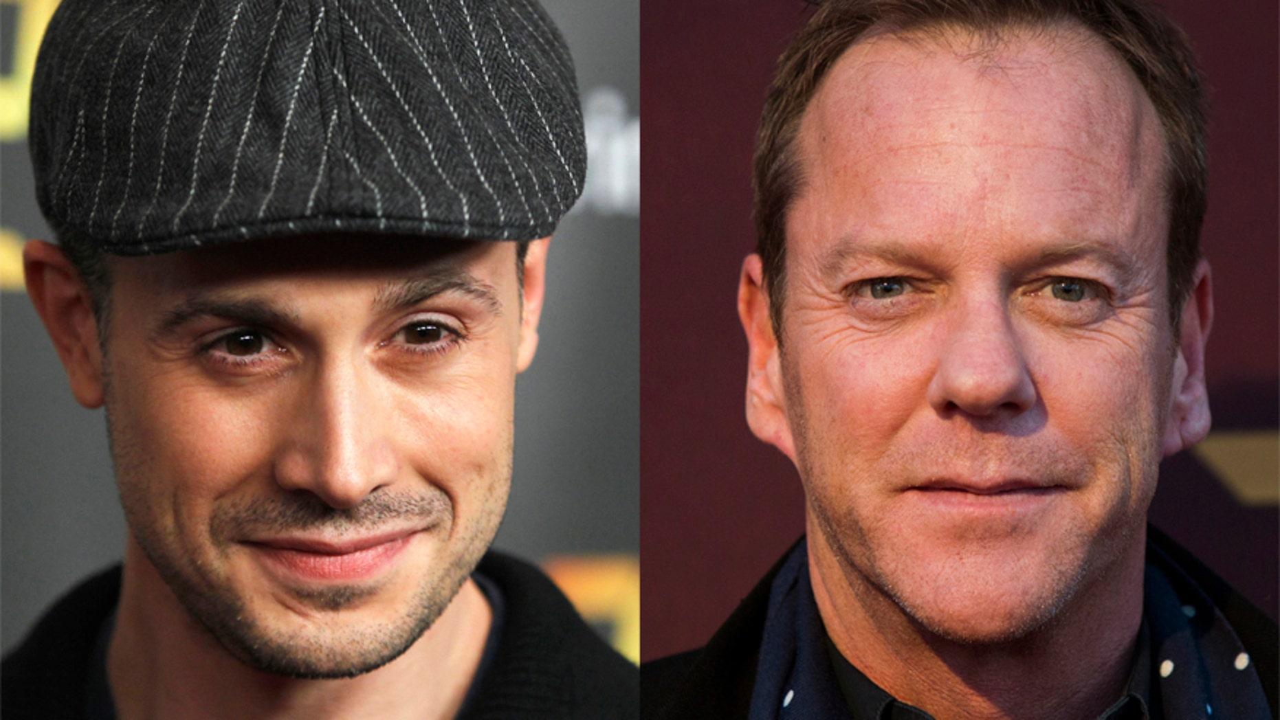 Actors Freddie Prinze Jr. (L) and Kiefer Sutherland (R).