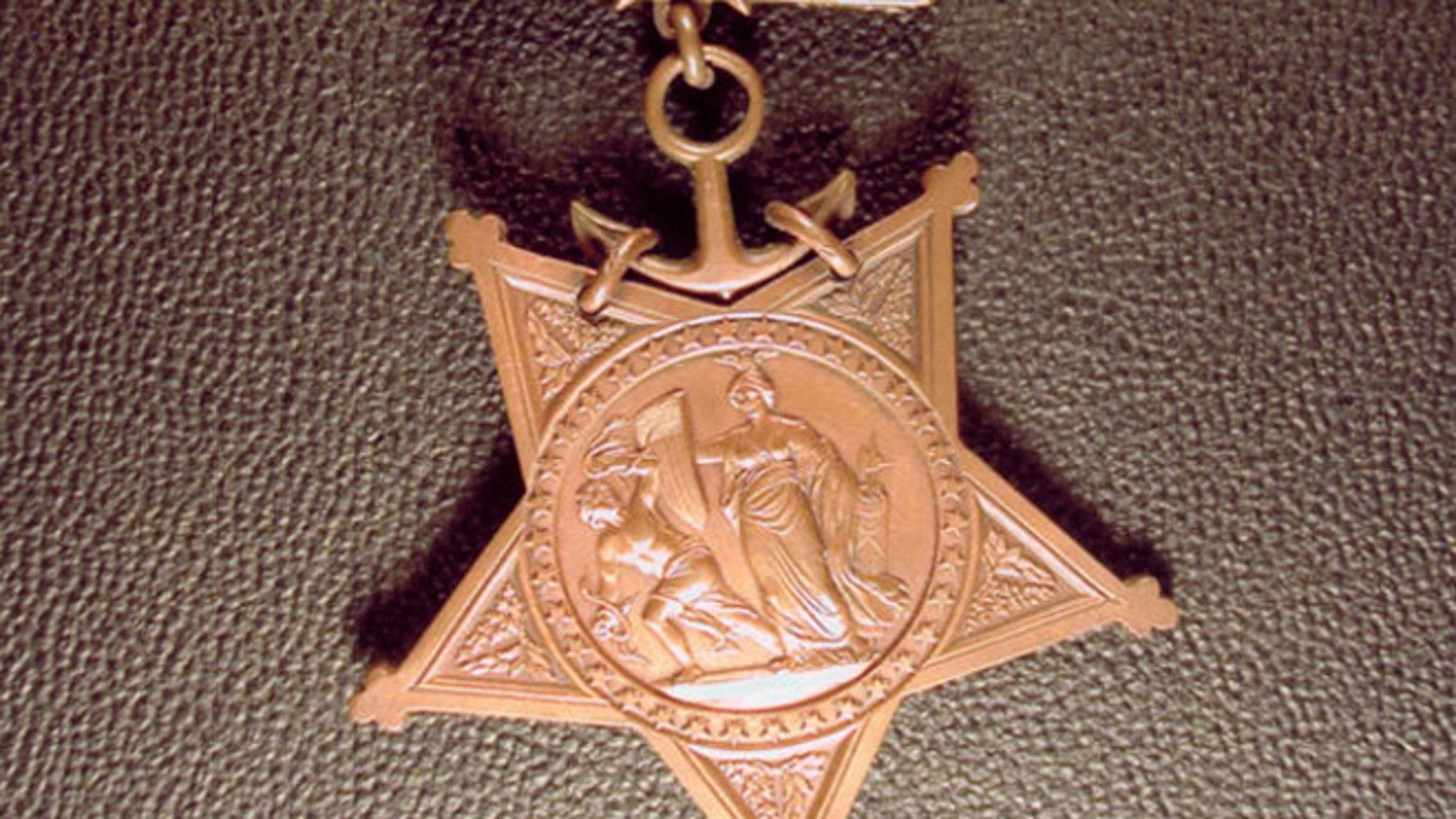 The Navy Medal for Emil Fredreksen ceremony in Seattle, Washington. (Evergreen-Washelli Memorial Park)