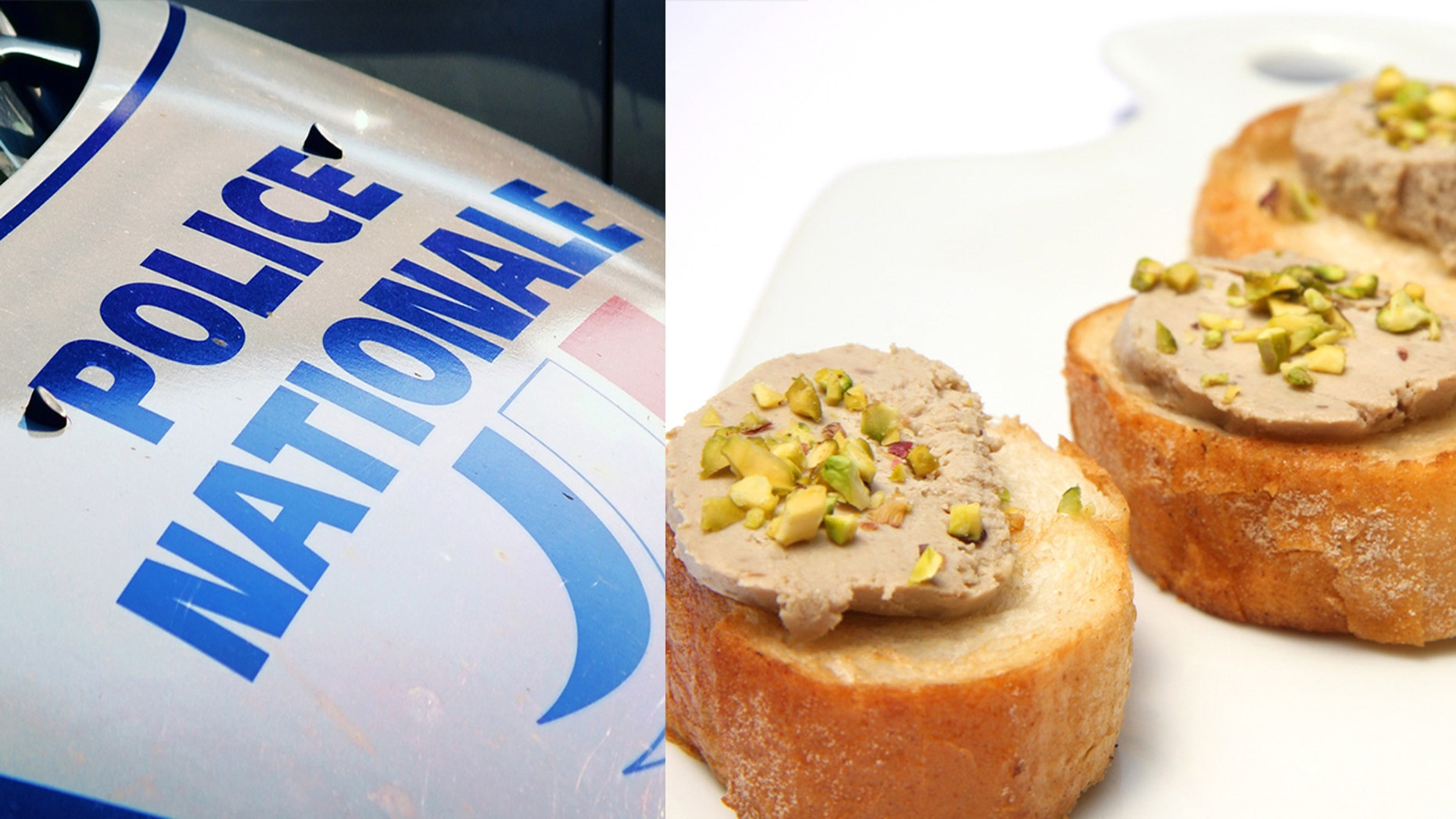 Police say the man was eating foie gras on toast, while also watching a movie on his laptop on the car dashboard while he was driving.