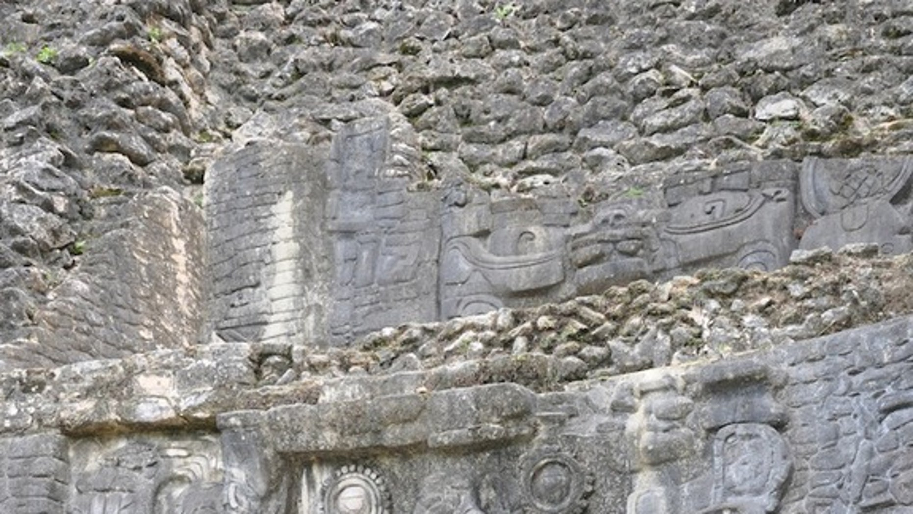 An example of the elaborate stone carvings made by Classical Mayans. This frieze is in Caracol, Belize.