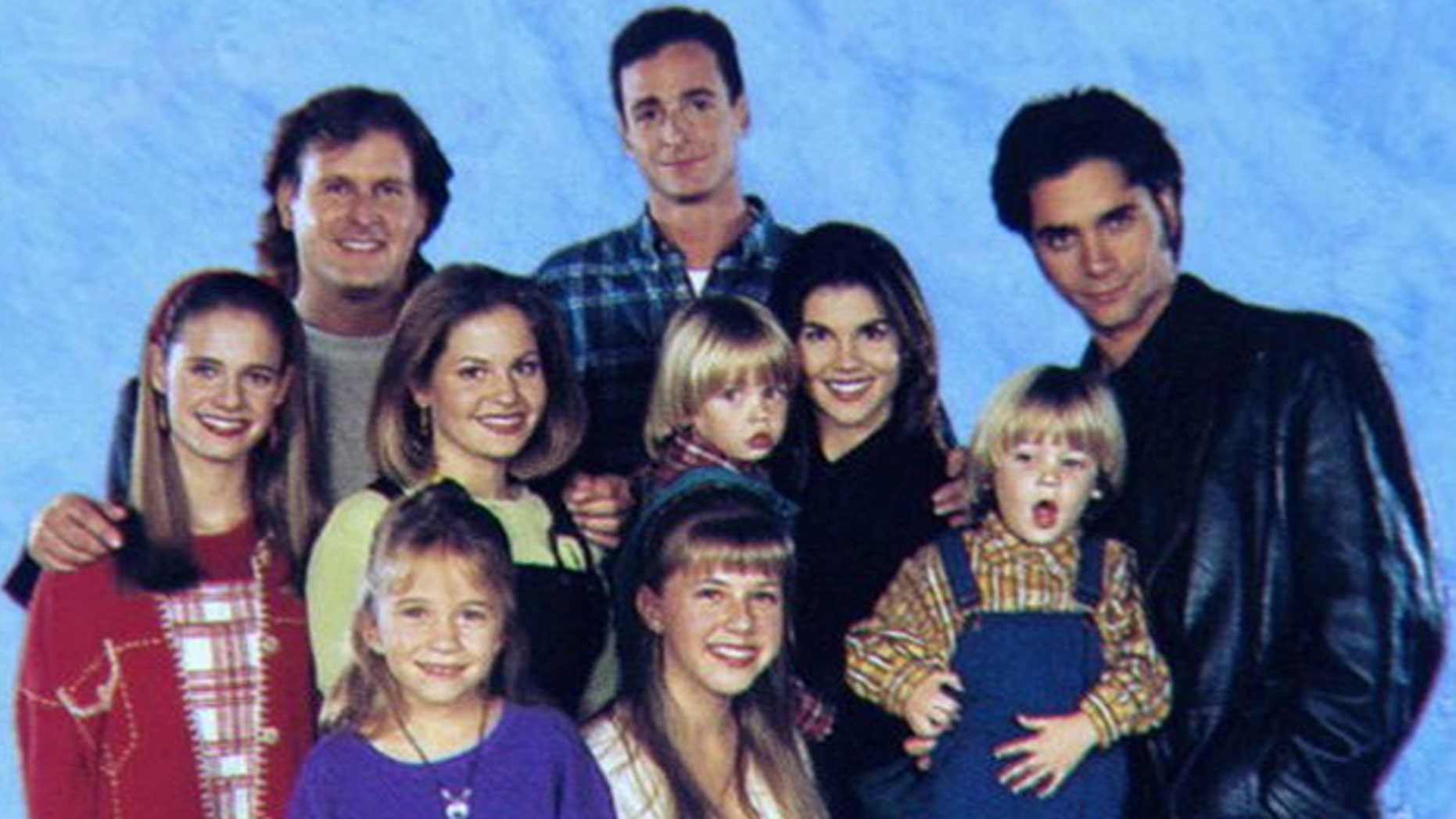 """""""Full House"""" cast: (front) Ashley Olsen, Jodie Sweetin, (mid) Andrea Barber, Candice Cameron, Blake Tuomy-Wilhoit, Lori Loughline, Dylan Tuomy-Wilhoit, (back) Dave Coulier, Bob Saget and John Stamos."""