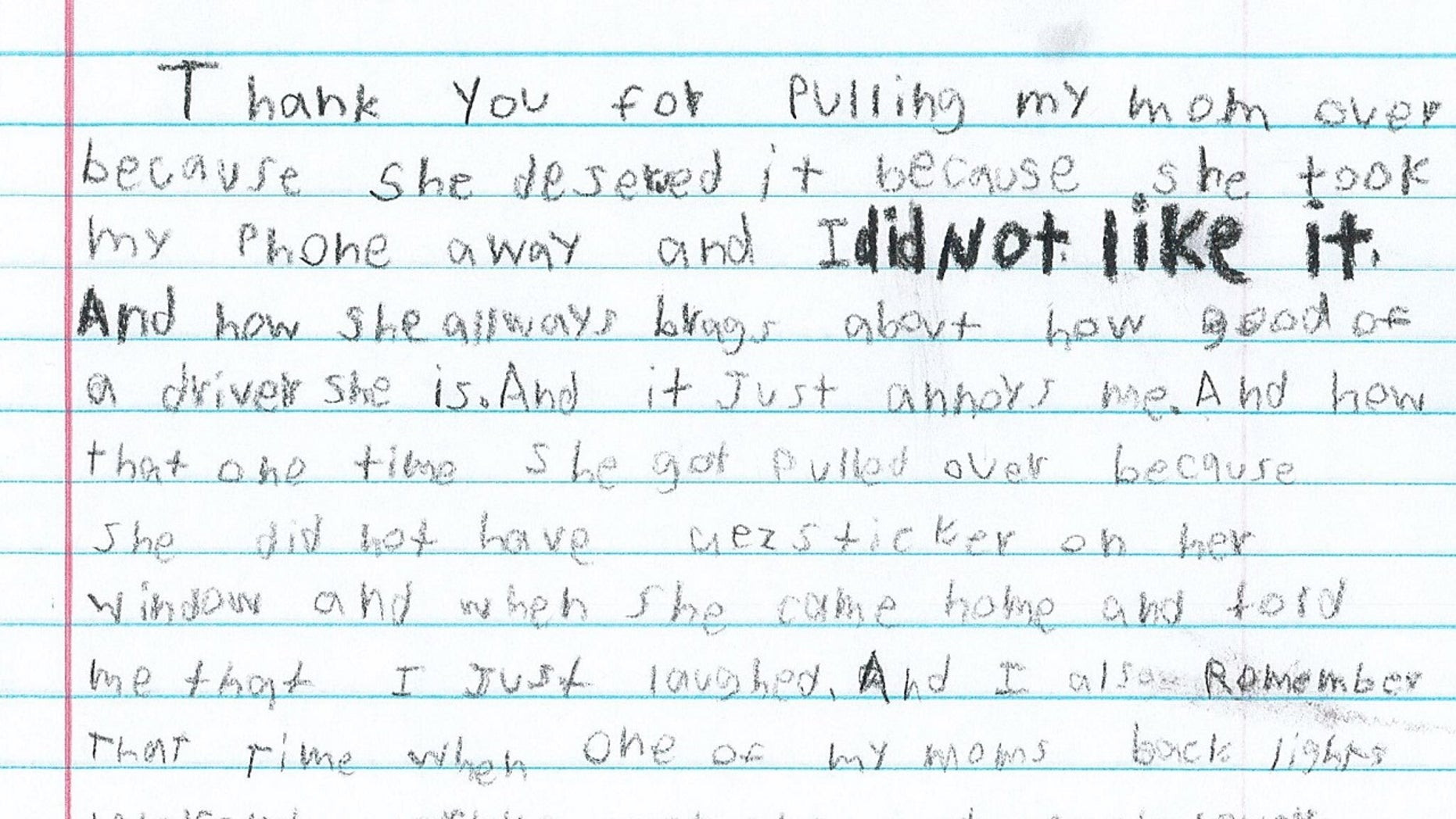 A boy's letter to Texas police included a personal touch.