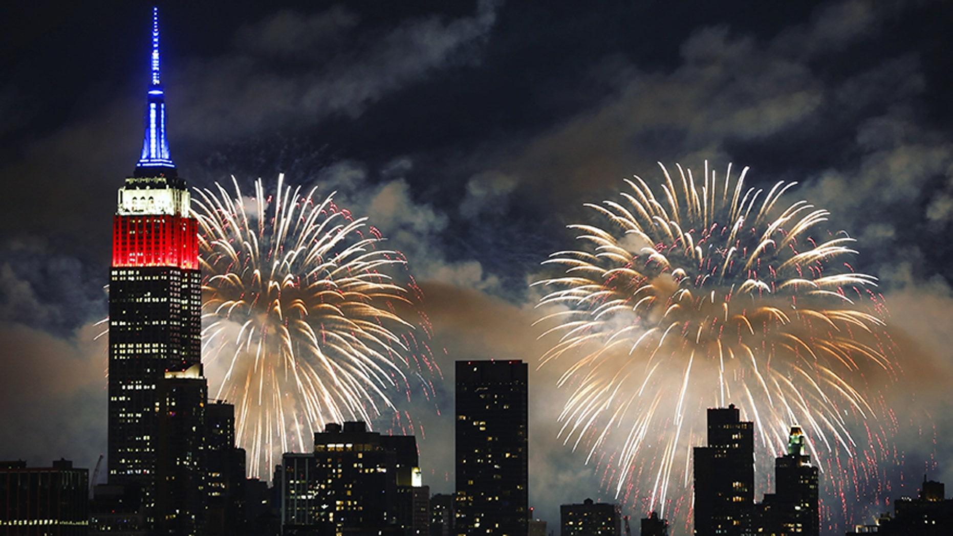 Fireworks light up the sky over New York City, July 4.