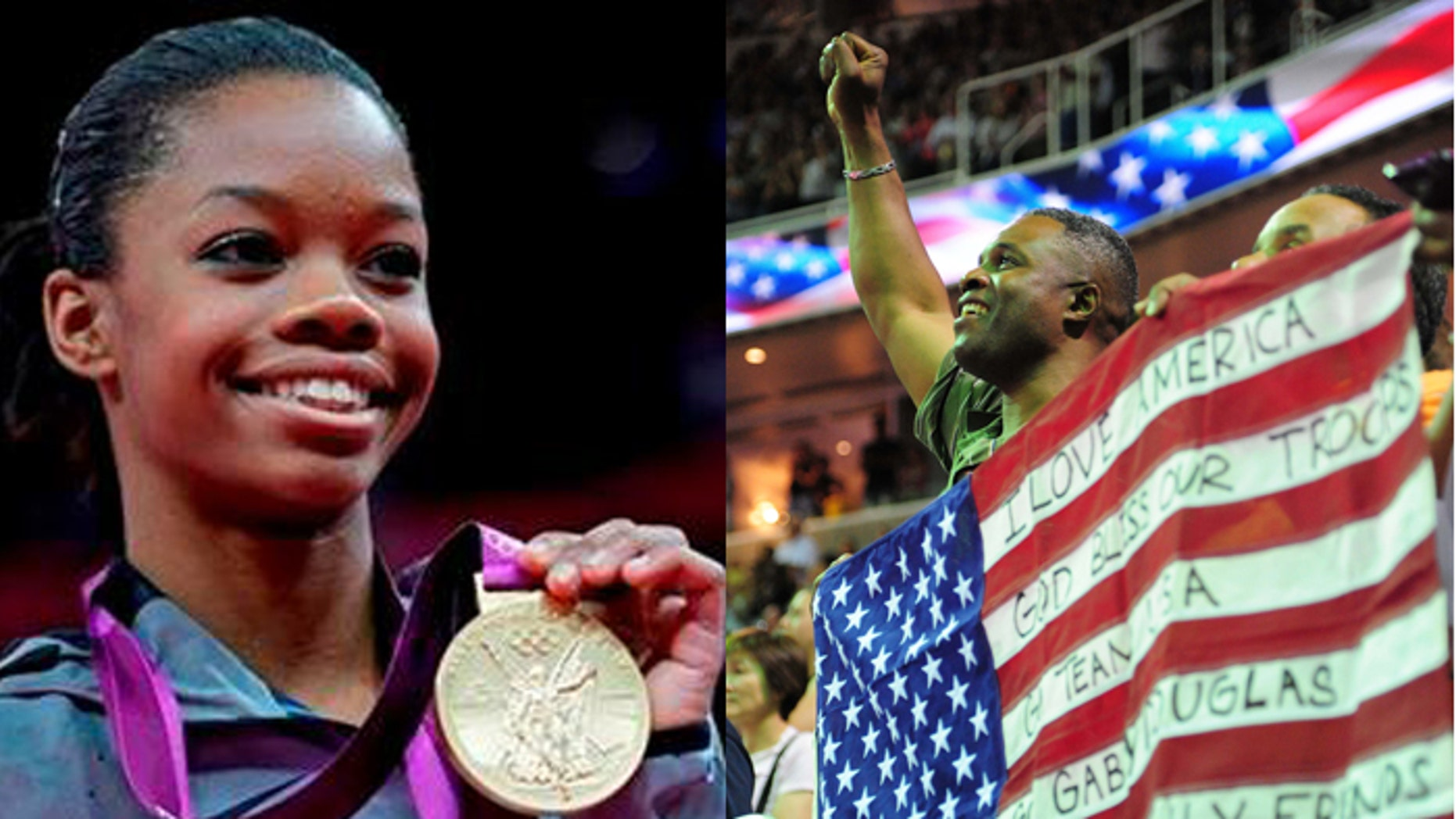 When Gabby Douglas won Olympic gold, her father (r.) couldn't be there to see it in person. But Air Force Staff Sgt. Timothy Douglas watched her  qualify for the U.S. team back in June. (AP, US Presswire)