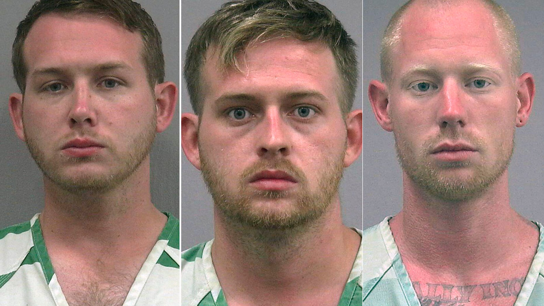 Investigators say Tyler Tenbrink, right, fired at protesters outside Thursday's Richard Spencer speech with the encouragement of William Fears, left, and brother Colton Fears, center.