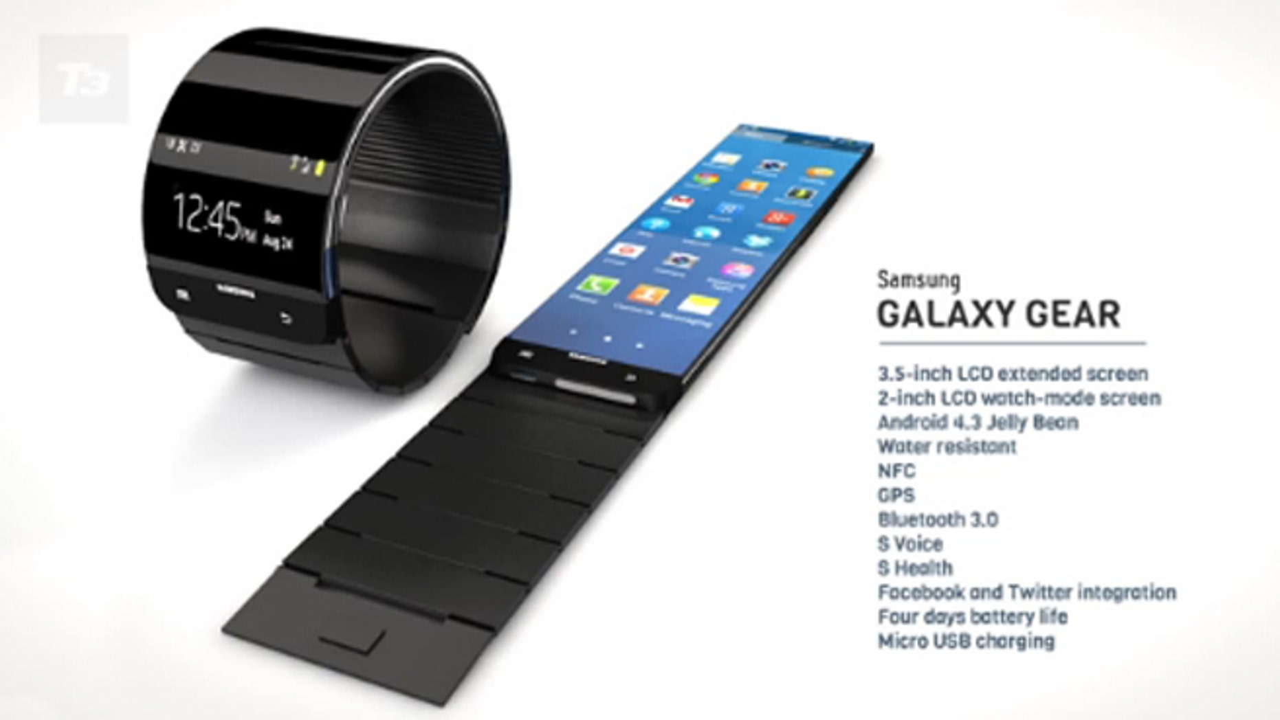 An unofficial rendering of Samsung's rumored Galaxy Gear smartwatch.