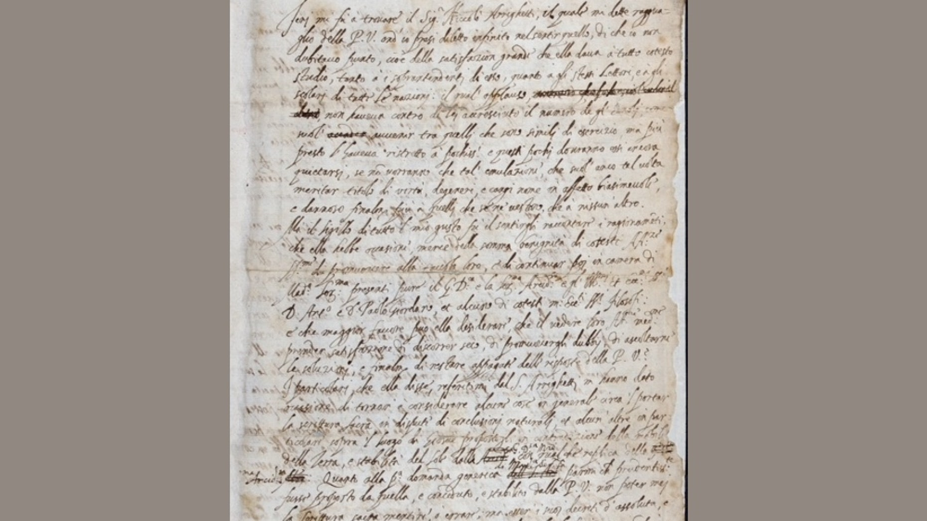 The long-lost letter from Galileo Galilei, dated Dec. 21, 1613, addressed to Padre Benedetto Castelli. The letter was found in the Royal Society archives.