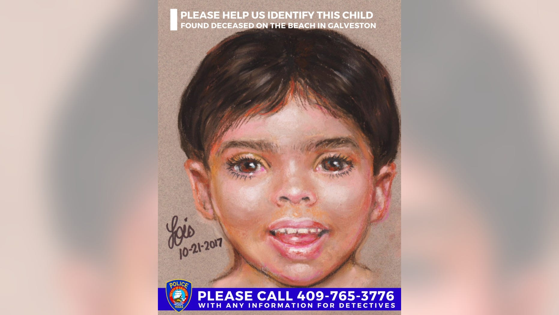 The Galveston Police Department released a sketch of a young boy whose body was found on a Galveston beach on Friday.