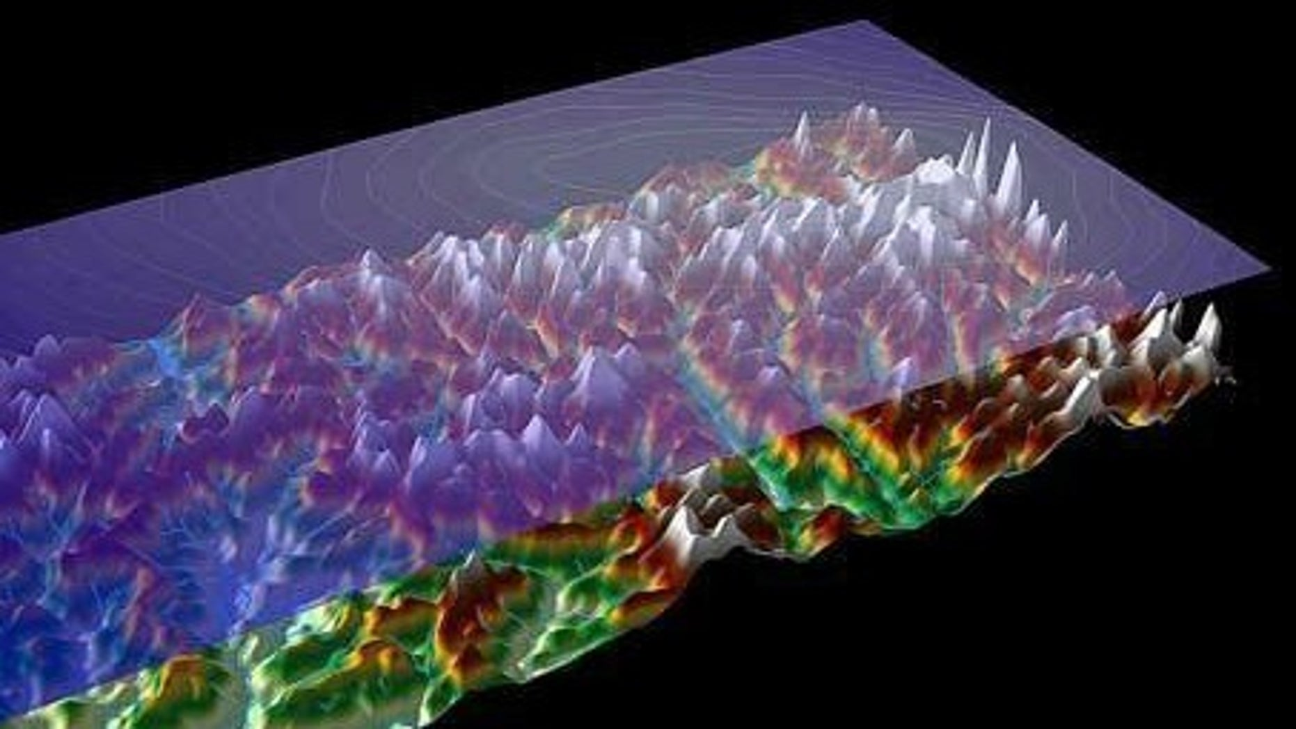 Airborne imaging technology allowed scientists to see the rugged topography of the Gamburtsev Mountains, hidden entirely beneath the ice sheet.