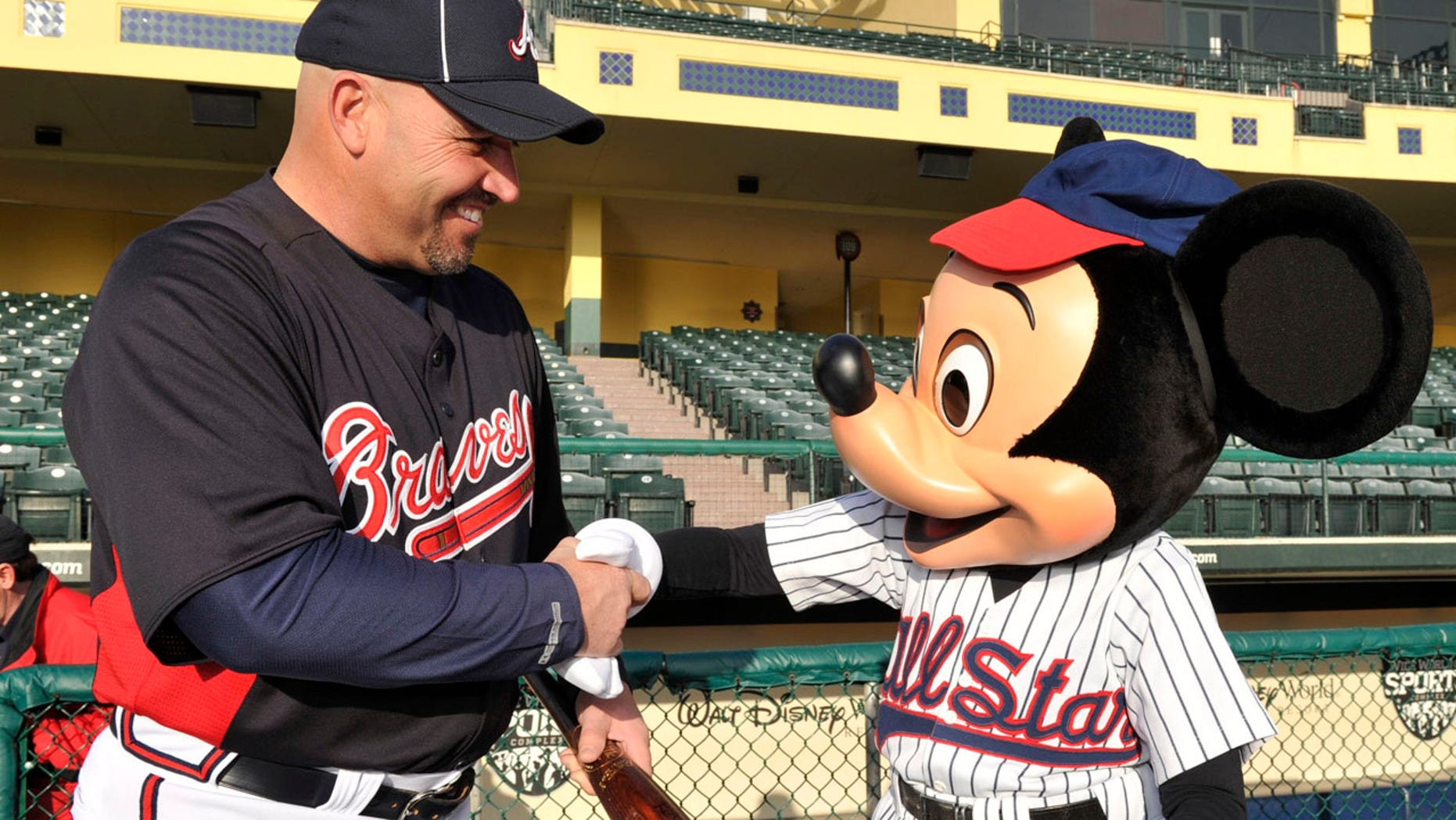 In Orlando, with Mickey Mouse and the Atlanta Braves.