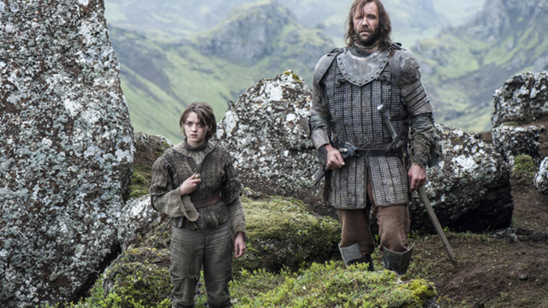 Arya Stark (Maisie Williams) and The Hound (Rory McCann) on HBO's 'Game of Thrones' (Courtesy HBO)