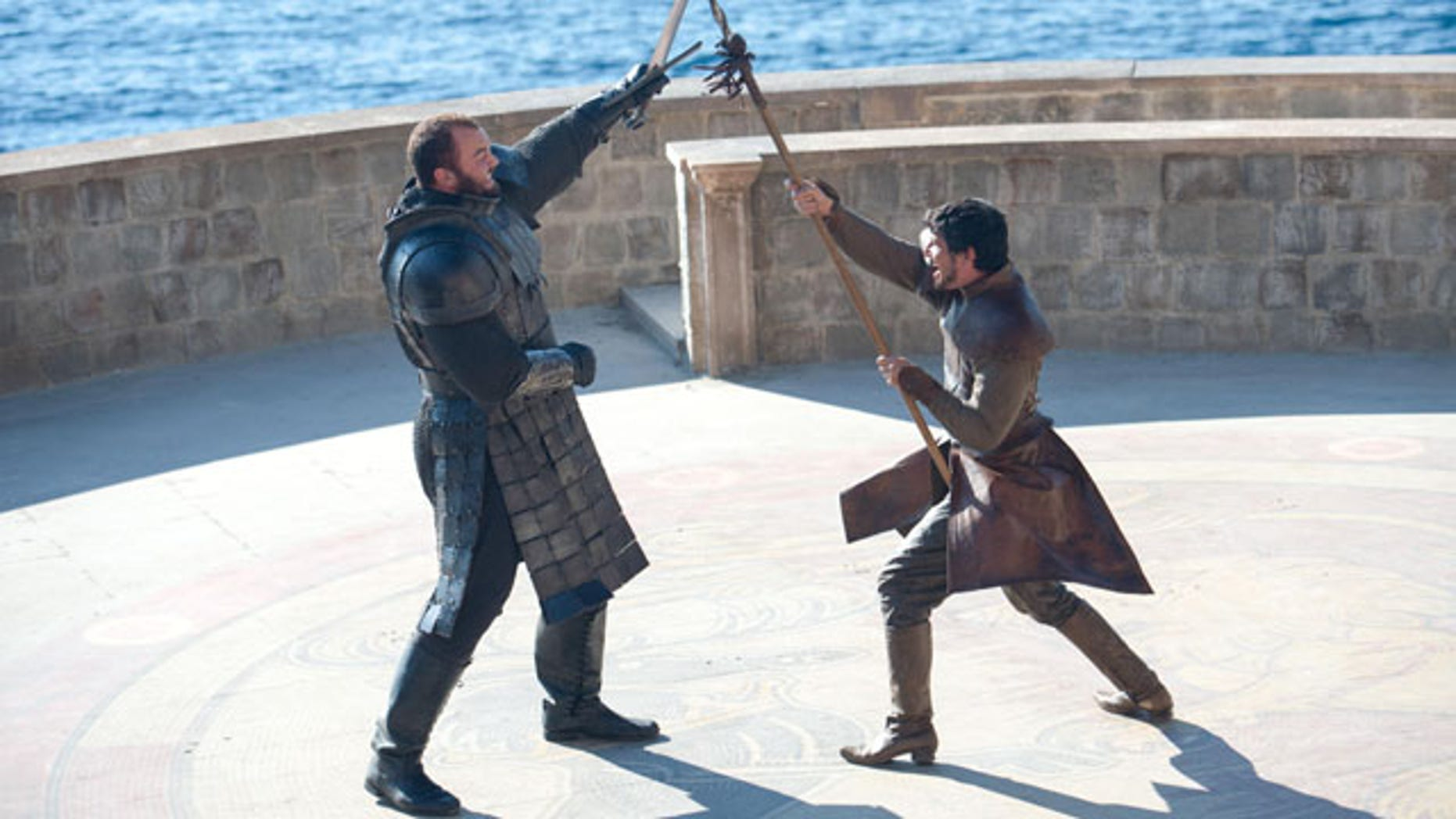 Duel to the Death: The Mountain (Hafthor Julius Bjornsson) squares off against Oberyn Martell (Pedro Pascal) (Courtesy HBO)