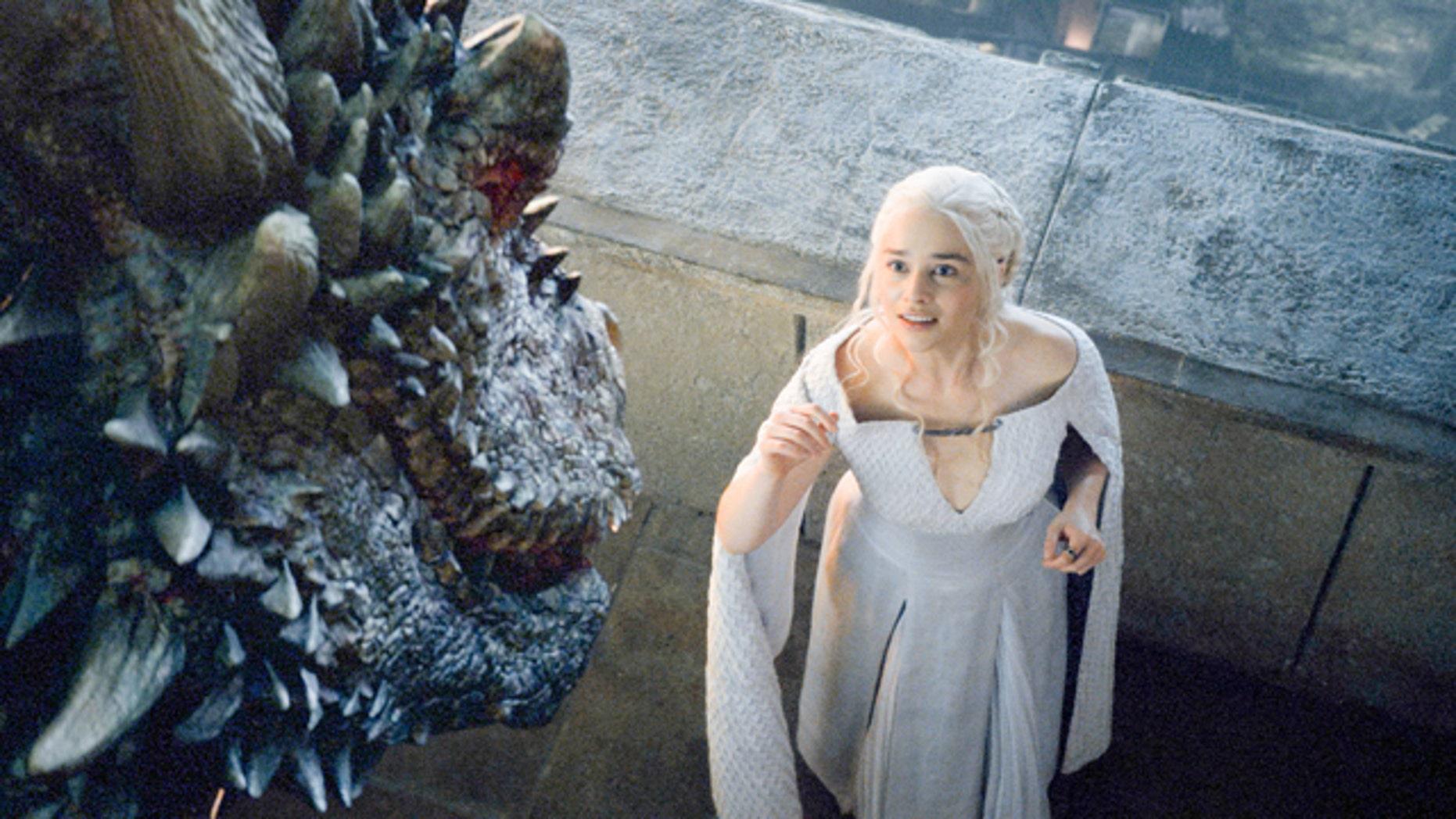 Daenerys Targaryen (Emilia Clarke) faces down an unfriendly dragon on 'Game of Thrones' (Courtesy Home Box Office)