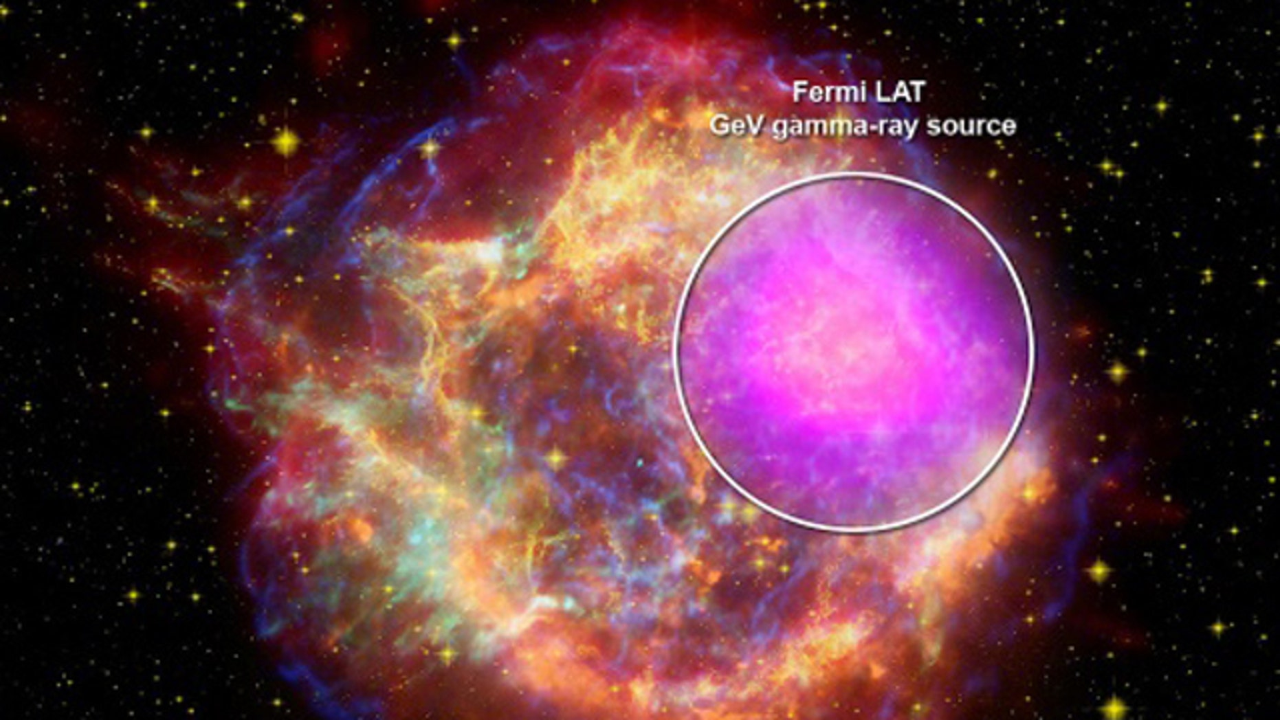 A NASA image shows the remnants of a supernova. A telescope acting like a huge digital camera can capture the gamma rays the ancient explosion emitted.