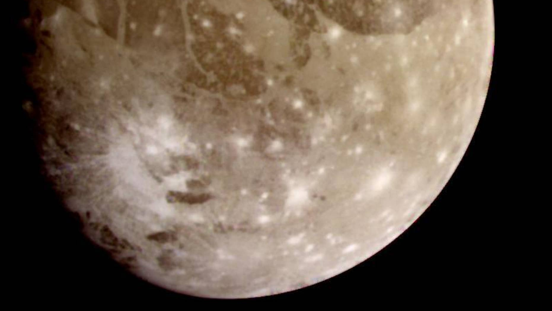 Jupiter's moon Ganymede. A new study shows that the electromagnetic waves near Ganymede are extremely powerful.