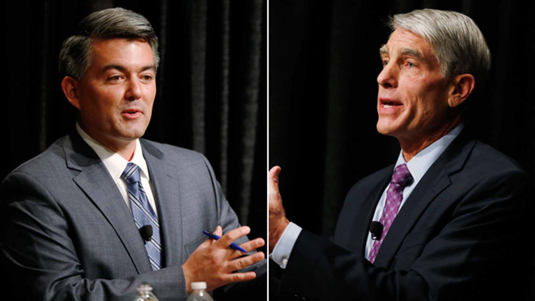 These Tuesday, Oct. 7, 2014 photos show U.S. Rep. Cory Gardner, R-Colo., and U.S. Sen. Mark Udall, D-Colo., during a debate at The Denver Post in Denver, Colo.