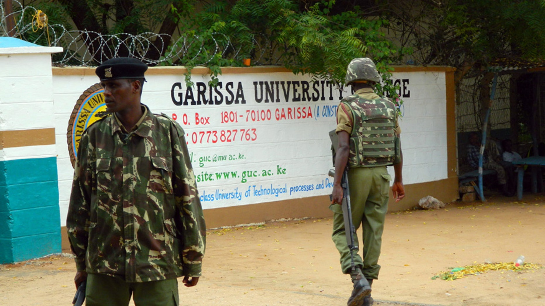 Jan. 4, 2016: Armed security officers guard the entrance of Garissa university college, in Garissa, Kenya.