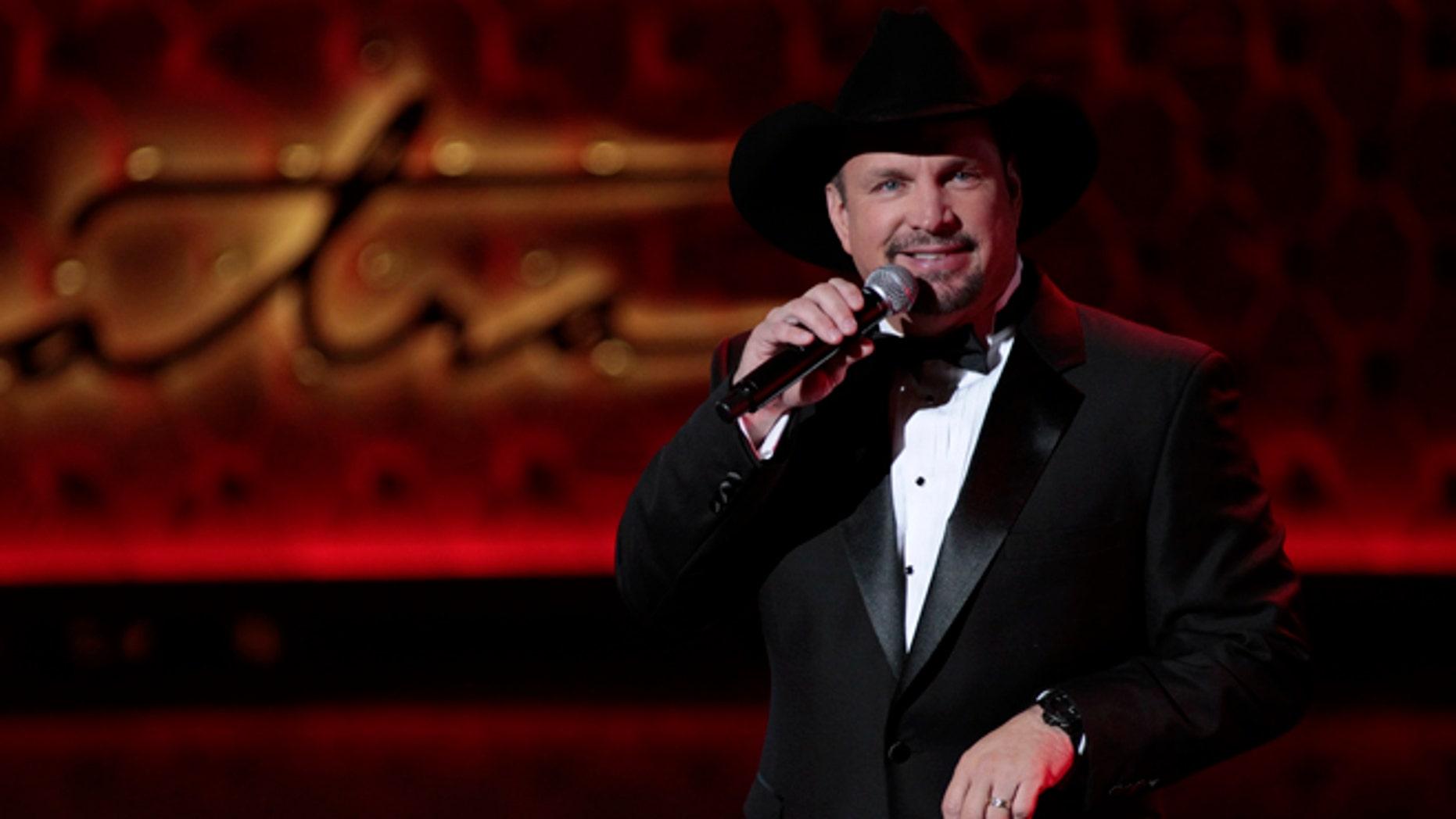 December 2, 2015. Singer Garth Brooks performs during Sinatra 100 - An All-Star Grammy Concert in Las Vegas, Nevada.