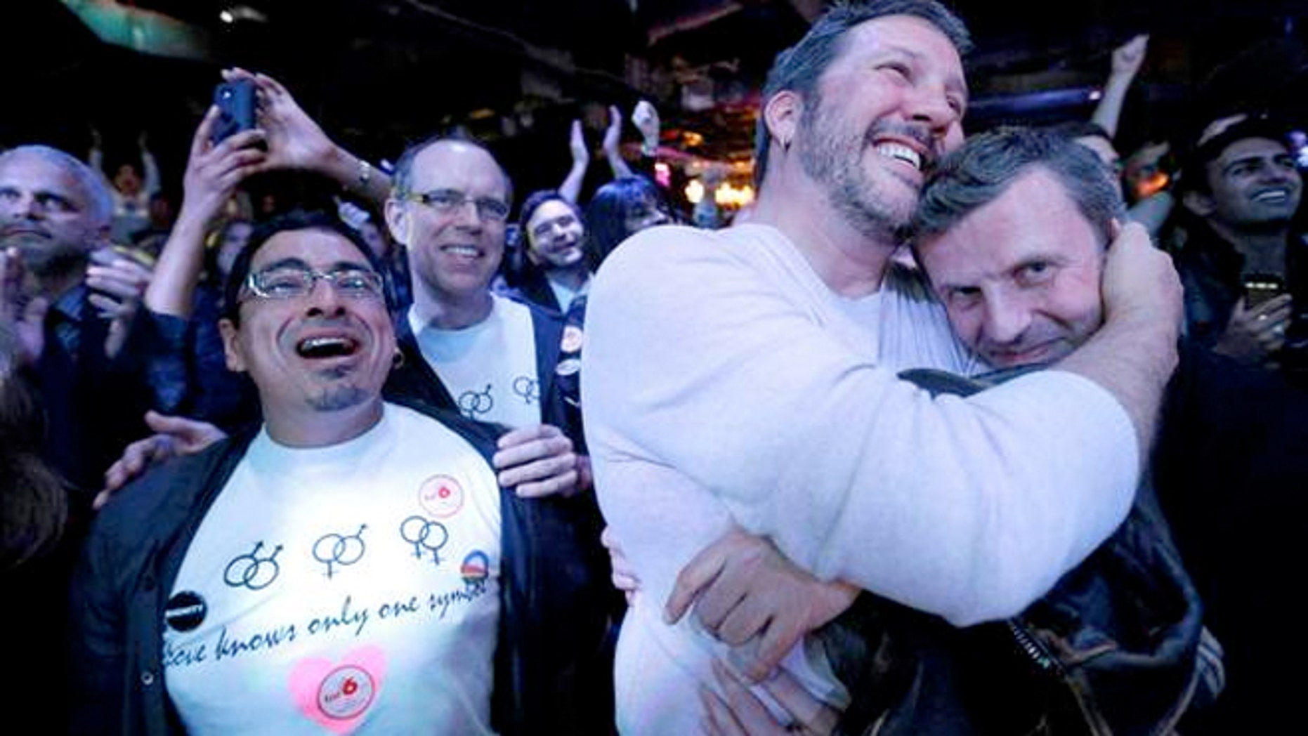 Party-goers celebrate at an Election Night party in Baltimore after voters passed a referendum approving same sex marriage in Maryland.