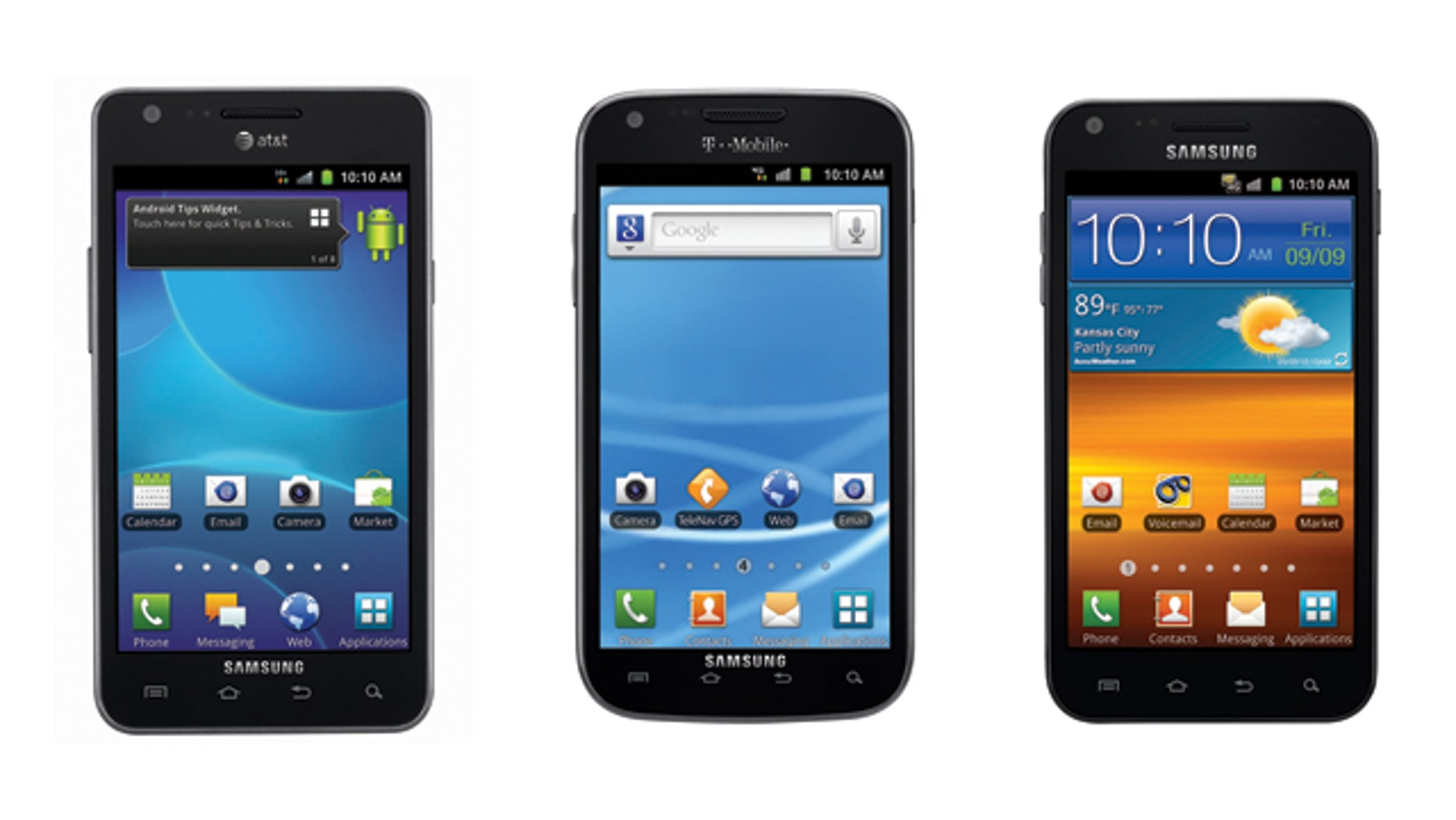 Samsung's newly announced Galaxy S II will be available this fall in three carrier flavors: AT&T, T-Mobile, and Sprint (from left to right).