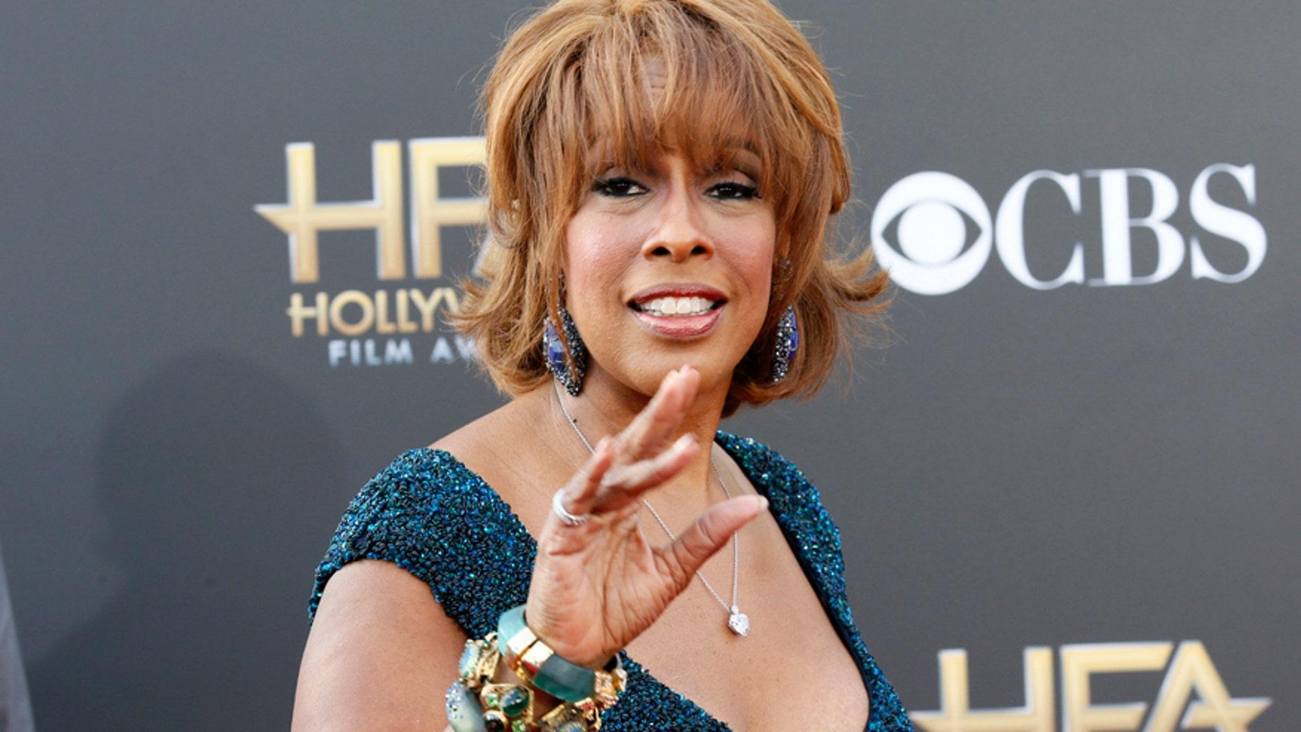 Morning talk show host Gayle King arrives at the Hollywood Film Awards in Hollywood, California November 14, 2014.