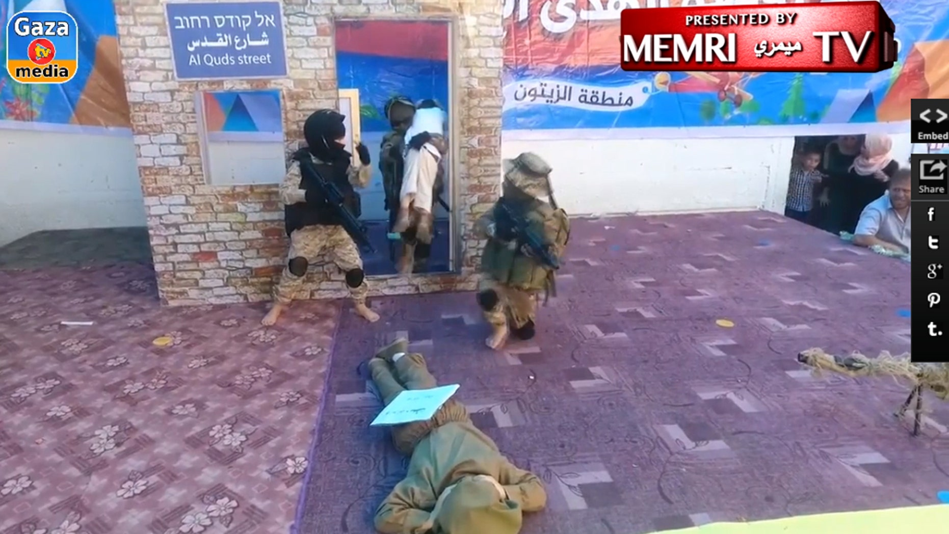 The video purportedly was recorded during a ceremony in May at the Al-Hoda preschool in Gaza.