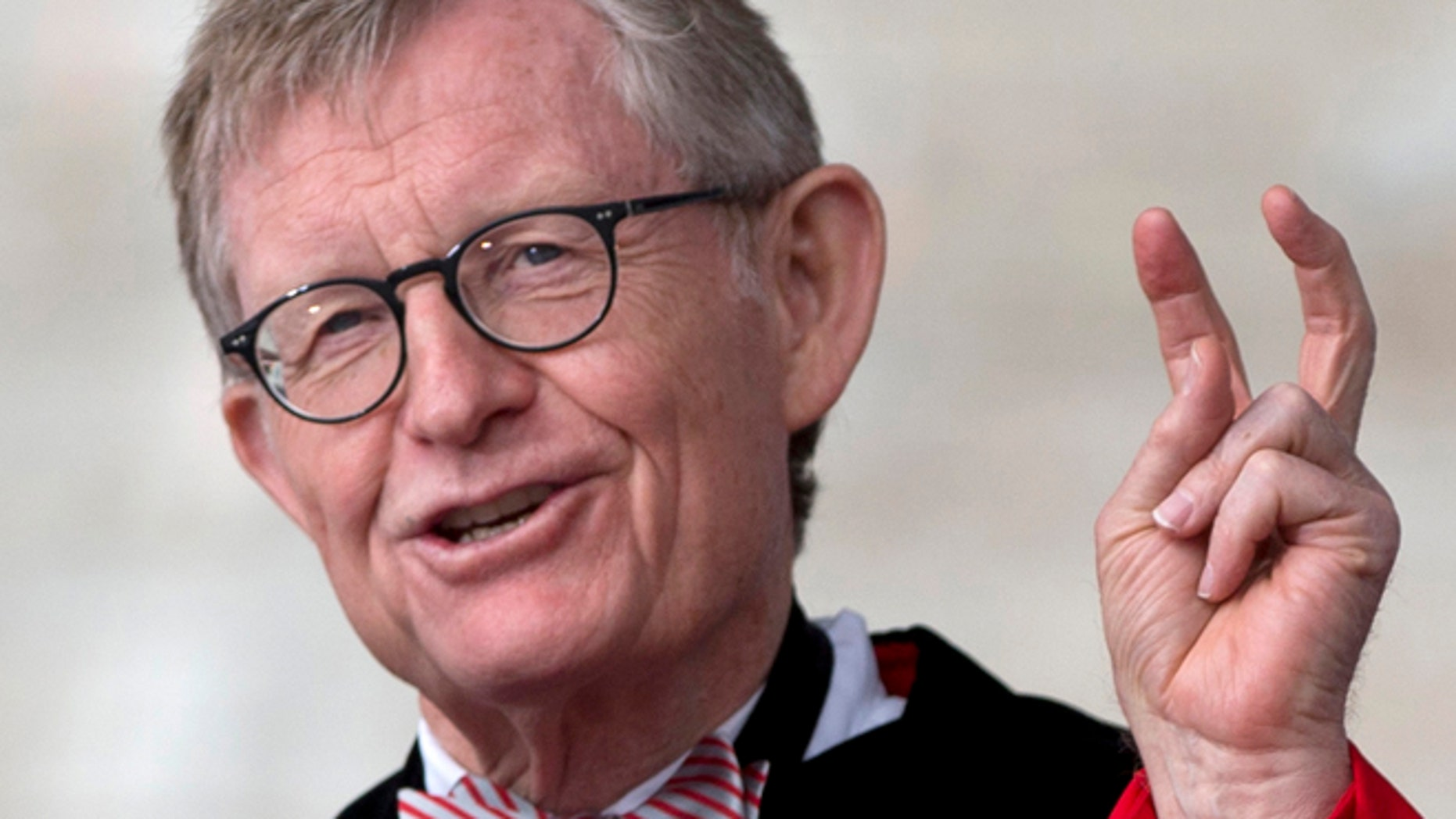 May 5, 2013: Ohio State president E. Gordon Gee speaks during the Ohio State University spring commencement in Columbus, Ohio. Gee told a university committee last December that Notre Dame wasn't invited to join the Big Ten because they're not good partners while also jokingly saying that those damn Catholics cant be trusted. (AP)