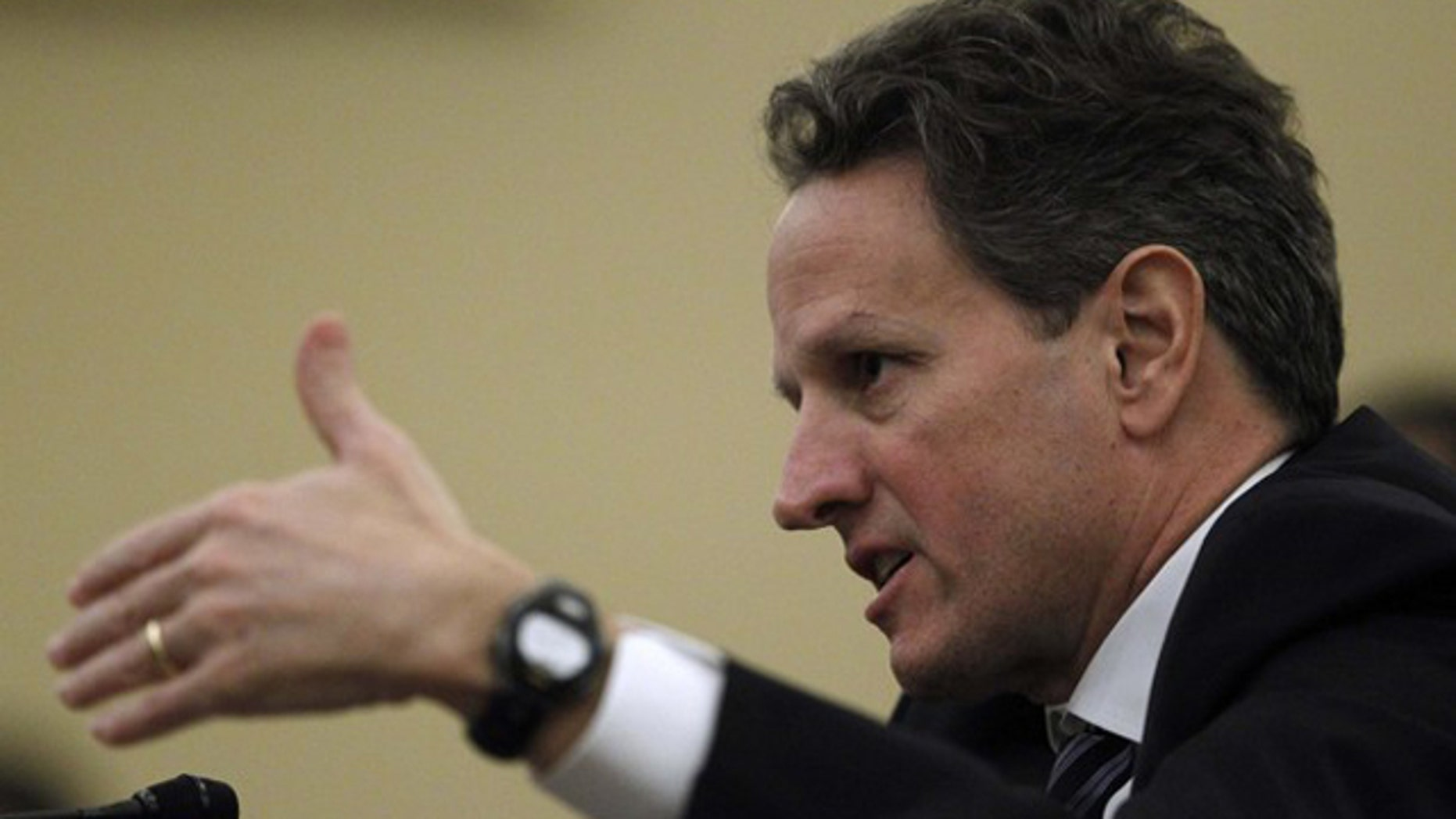Treasury Secretary Tim Geithner testifies at a House Ways and Means Committee hearing on Capitol Hill Feb. 15.