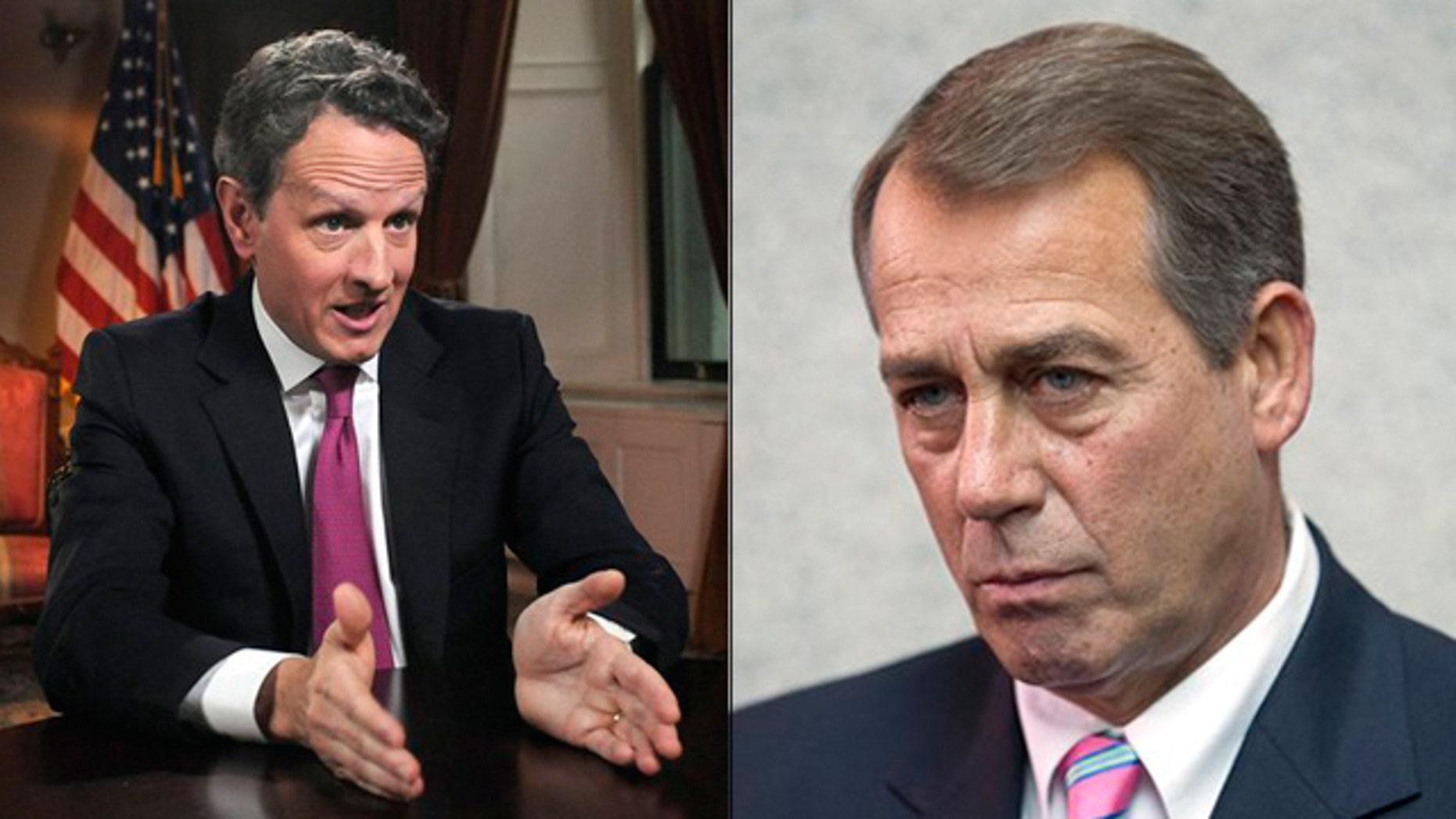 Shown here are Treasury Secretary Tim Geithner, left, and House Speaker John Boehner.