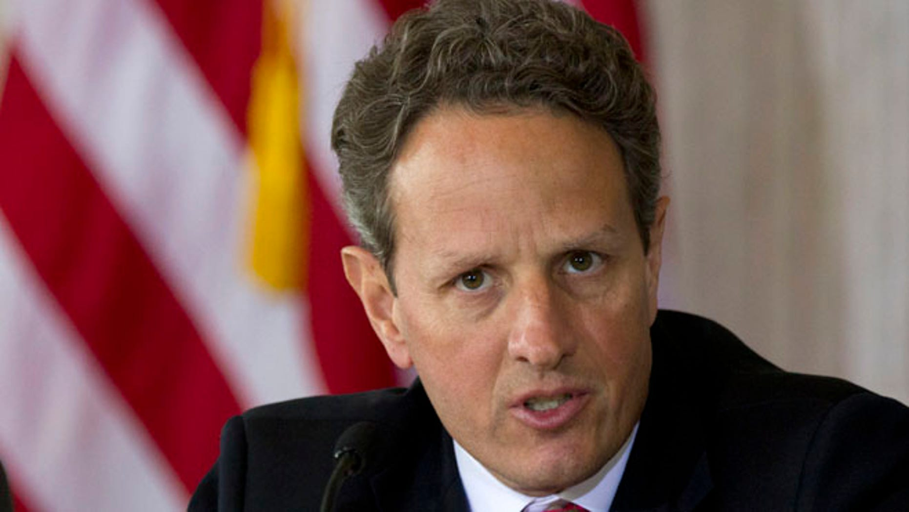April 3, 2012: Treasury Secretary Timothy Geithner speaks at the Treasury Department in Washington.