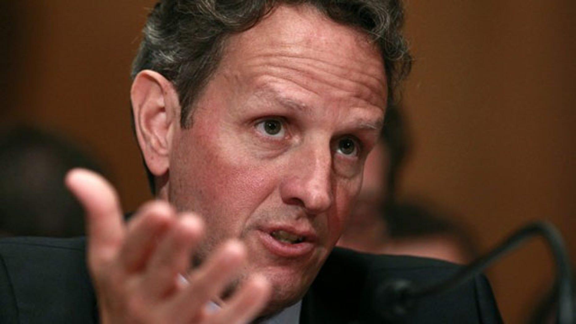 Treasury Secretary Tim Geithner testifies before a congressional panel in Washington, D.C., June 22. (Reuters Photo)