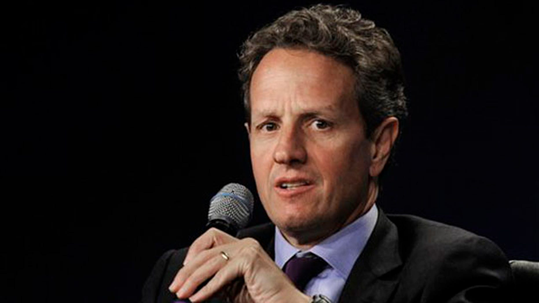FILE: June 30, 2011: Treasury Secretary Timothy Geithner at the Clinton Global Initiative America meeting, Chicago. Ill.
