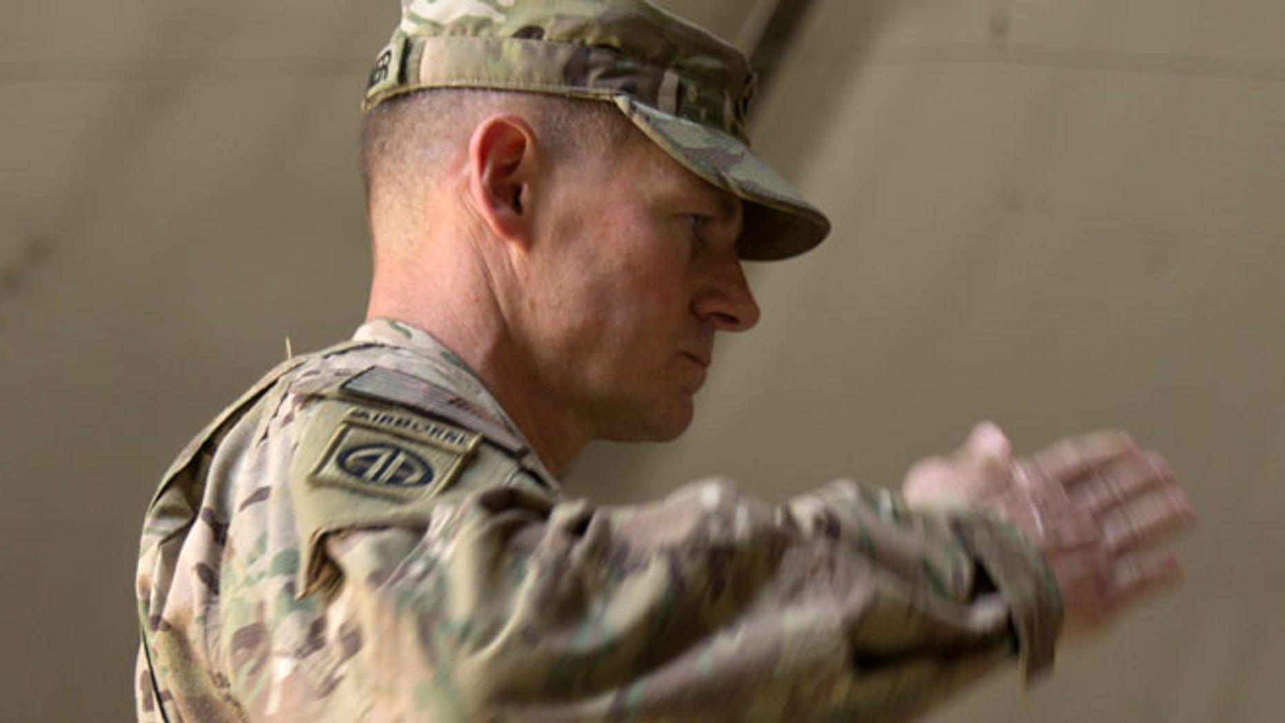 July 22, 2015: U.S. Army Brig. Gen. Wilson Shoffner salutes at Kabul International Airport base in Kabul, Afghanistan.  (AP)